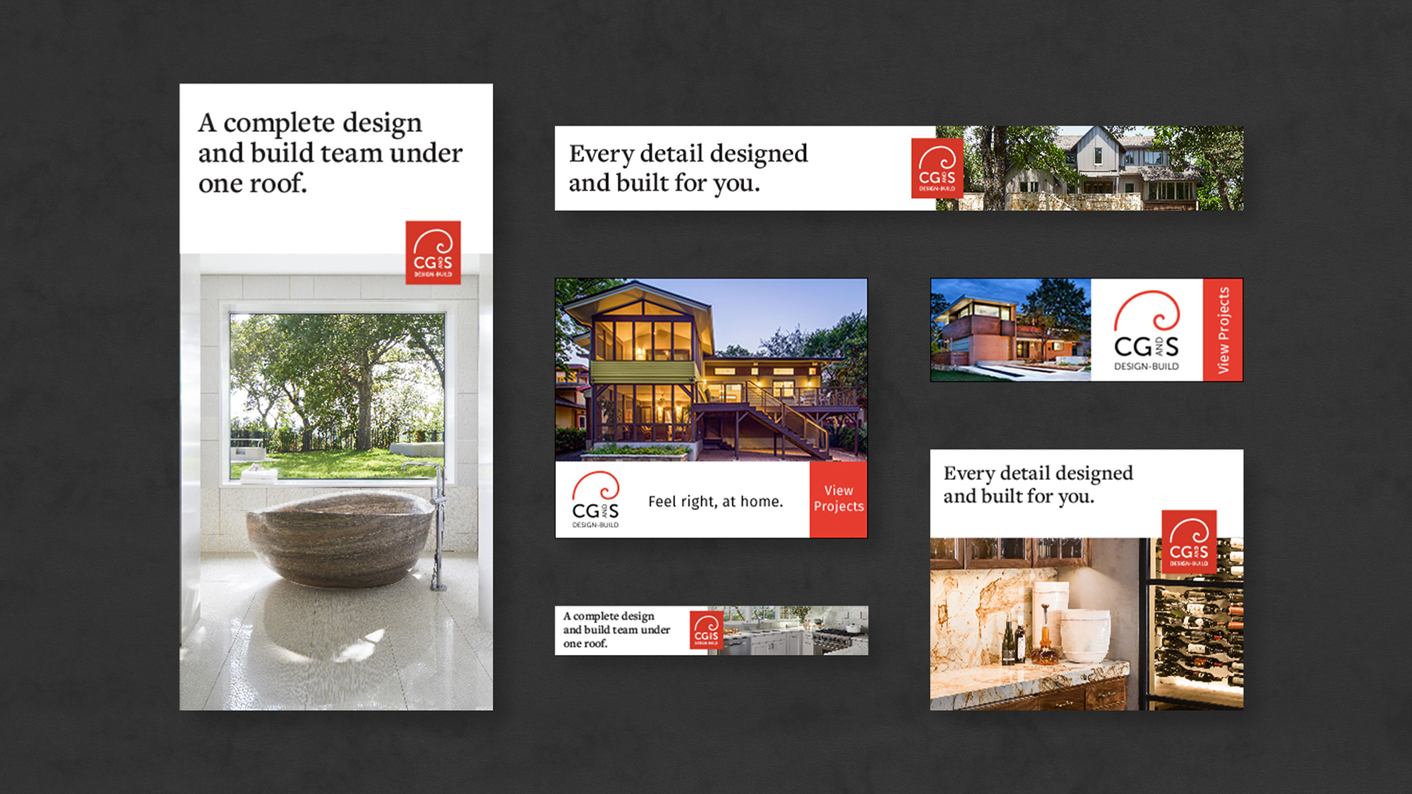 Digital advertisements for CG&S Design-Build.