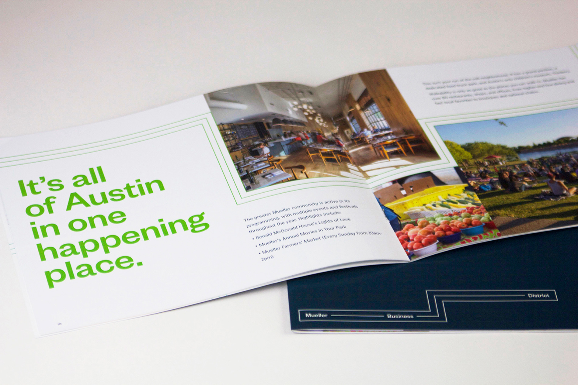 """An open brochure with the headline """"It's all of Austin in one happening place."""""""