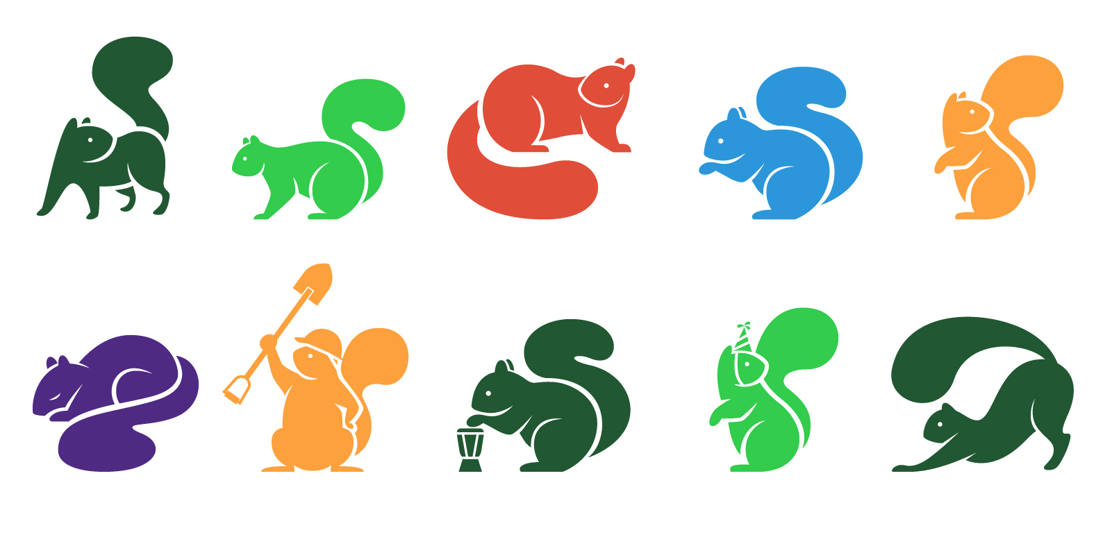 A collection of squirrel characters in different positions.