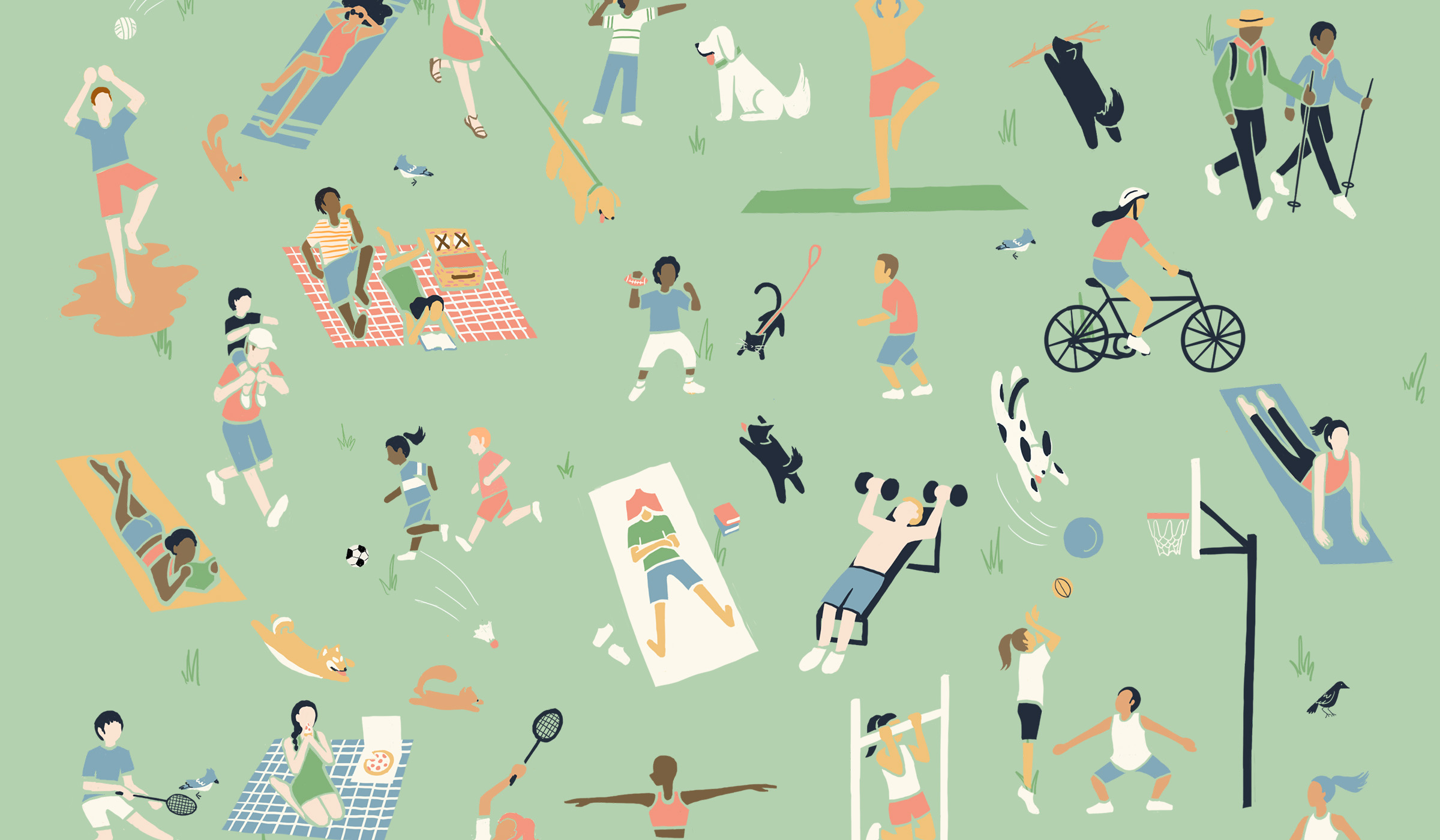 Illustrative pattern of people performing different activities in a park.