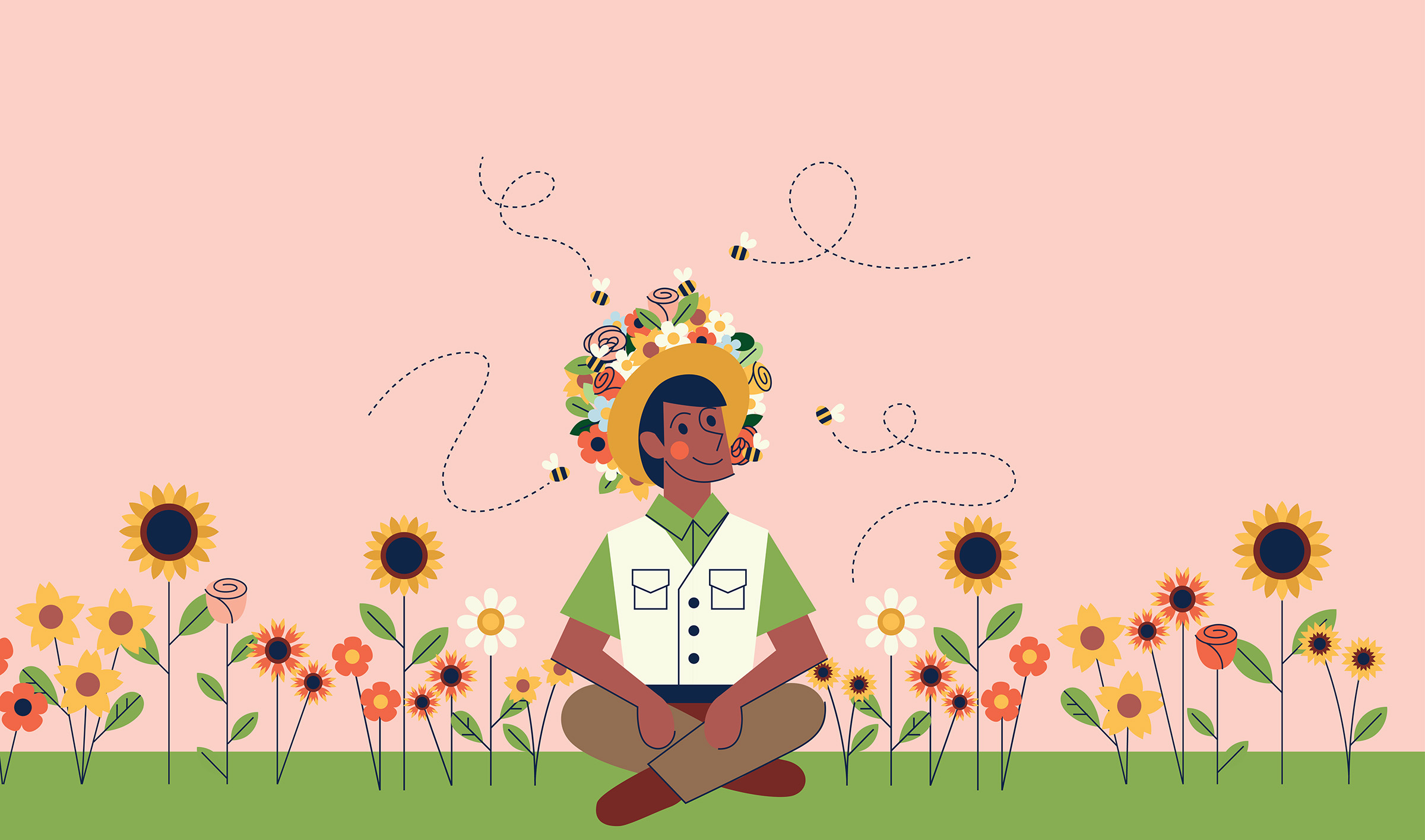 An illustration of a man in a flower hat sitting in the park with some bees.