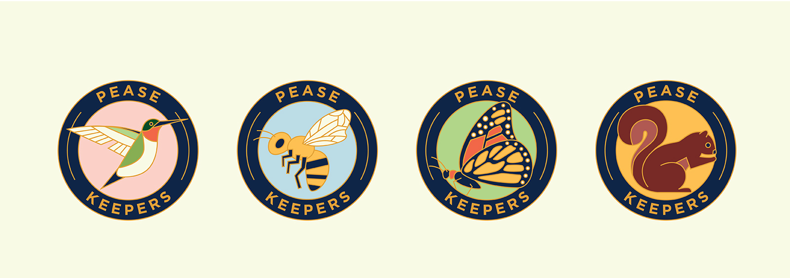 """Row of four illustrated """"Pease Keeper"""" badges."""