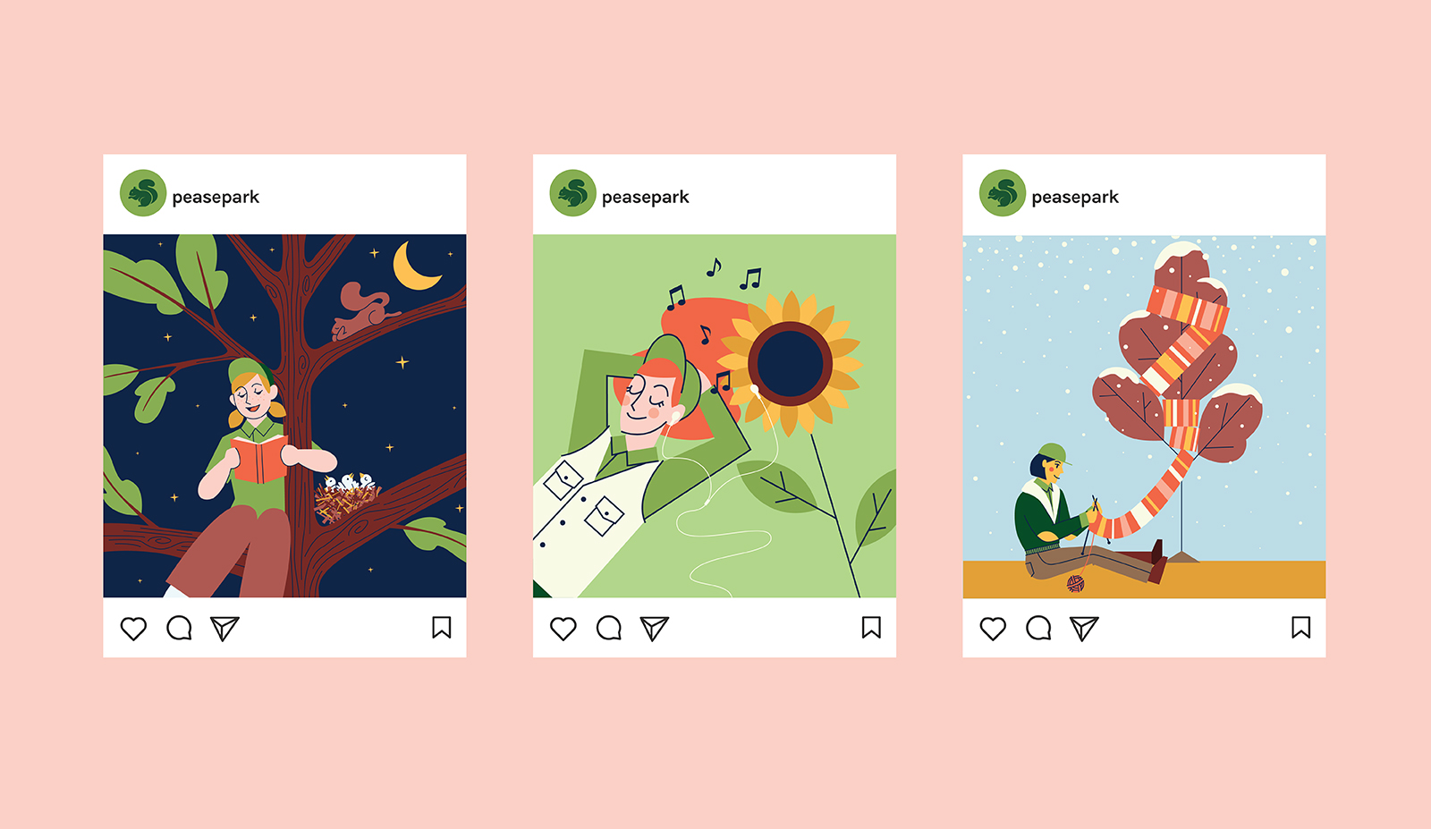 Row of Instagram screens containing park campaign illustrations.