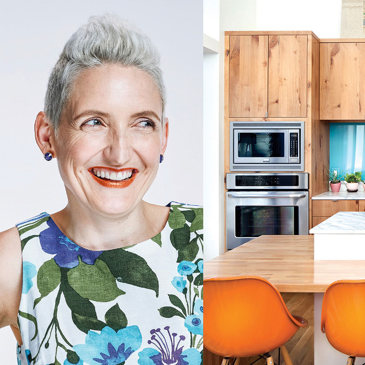 Woman laughing in her kitchen.