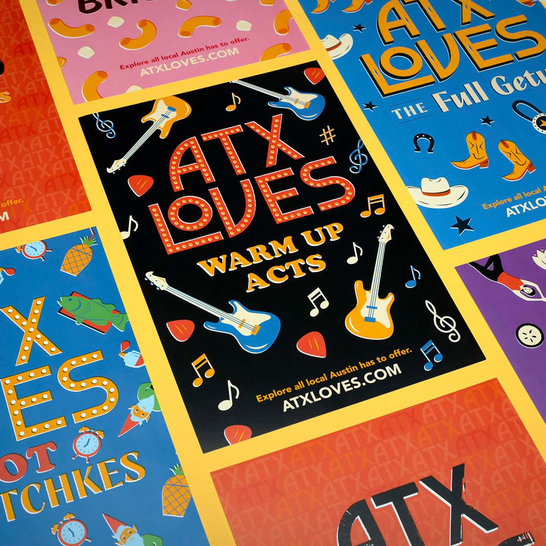 A row of ATXLoves postcards with illustrated guitars and cowboy boots.