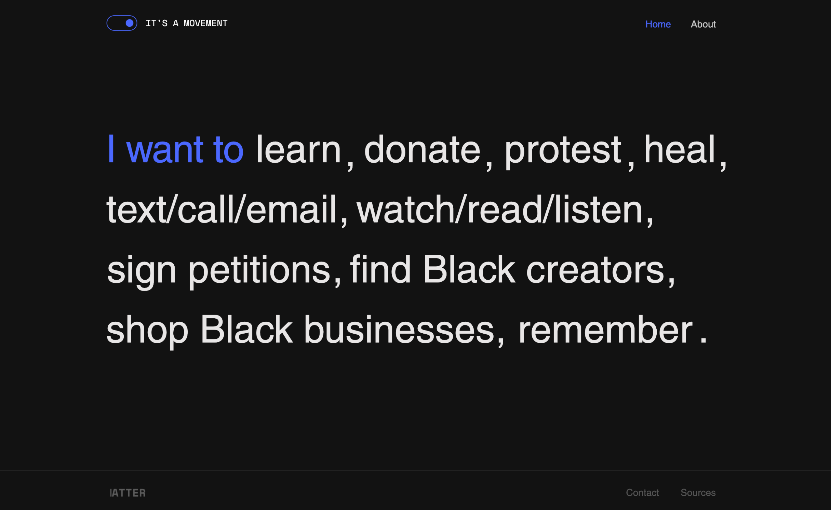 Homepage of notamoment.com asking users to explore different activist topics to learn about