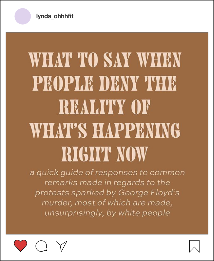 Activist Instagram post titled what to say when people deny the reality of what's happening right now