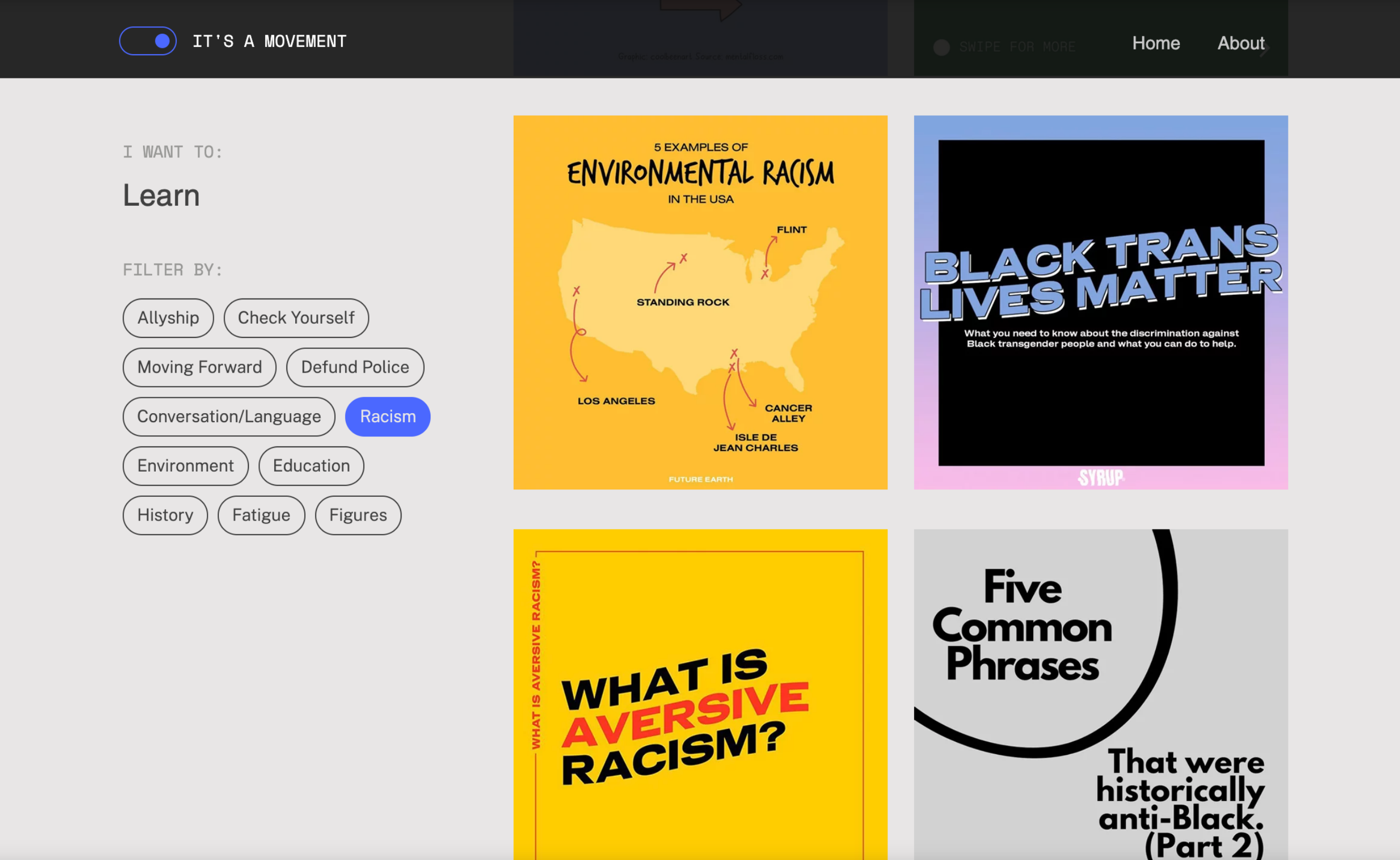 Screenshot of notamoment.com's topic page titles Learn with filter tabs under the title and informational instagram posts on the page to read.