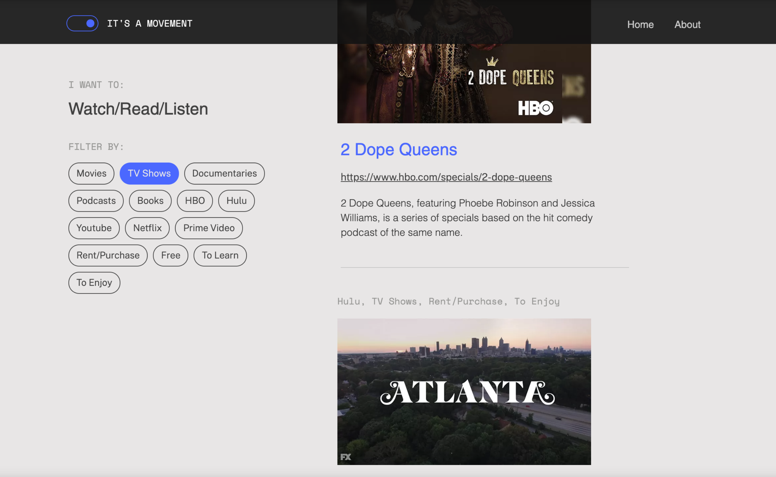 Screenshot of notamoment.com showing the Watch/Read/listen page with filter tabs featuring categories such as movies, podcasts, netfilx, free, etc.