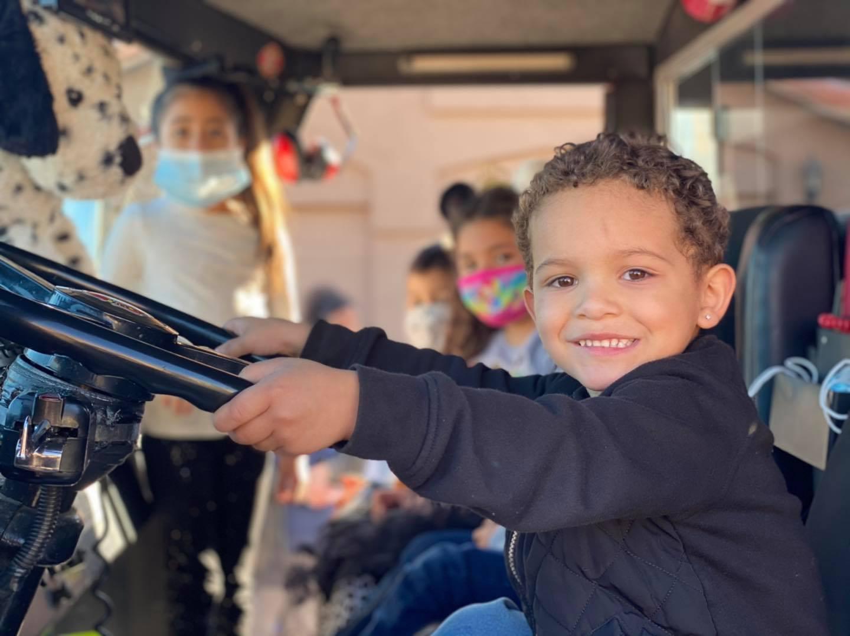 Kid friendly fire truck.
