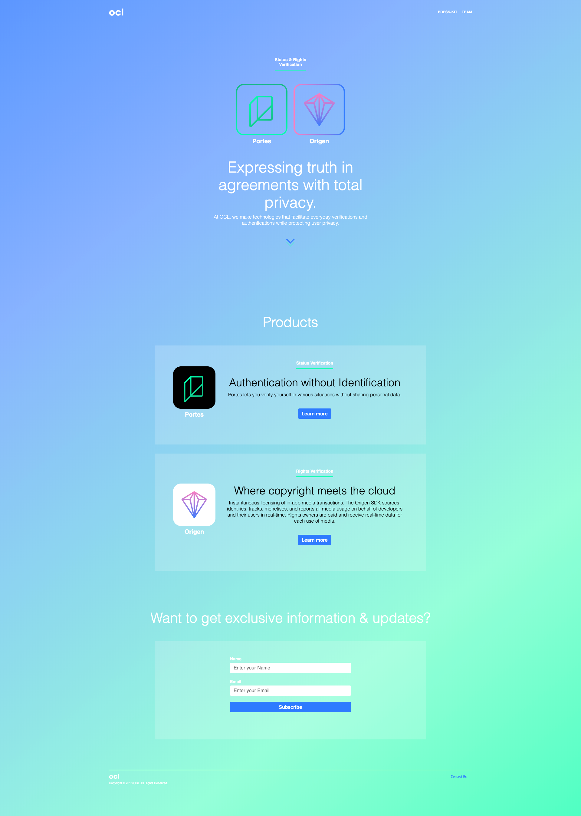 Homepage copy for tech startup OCL