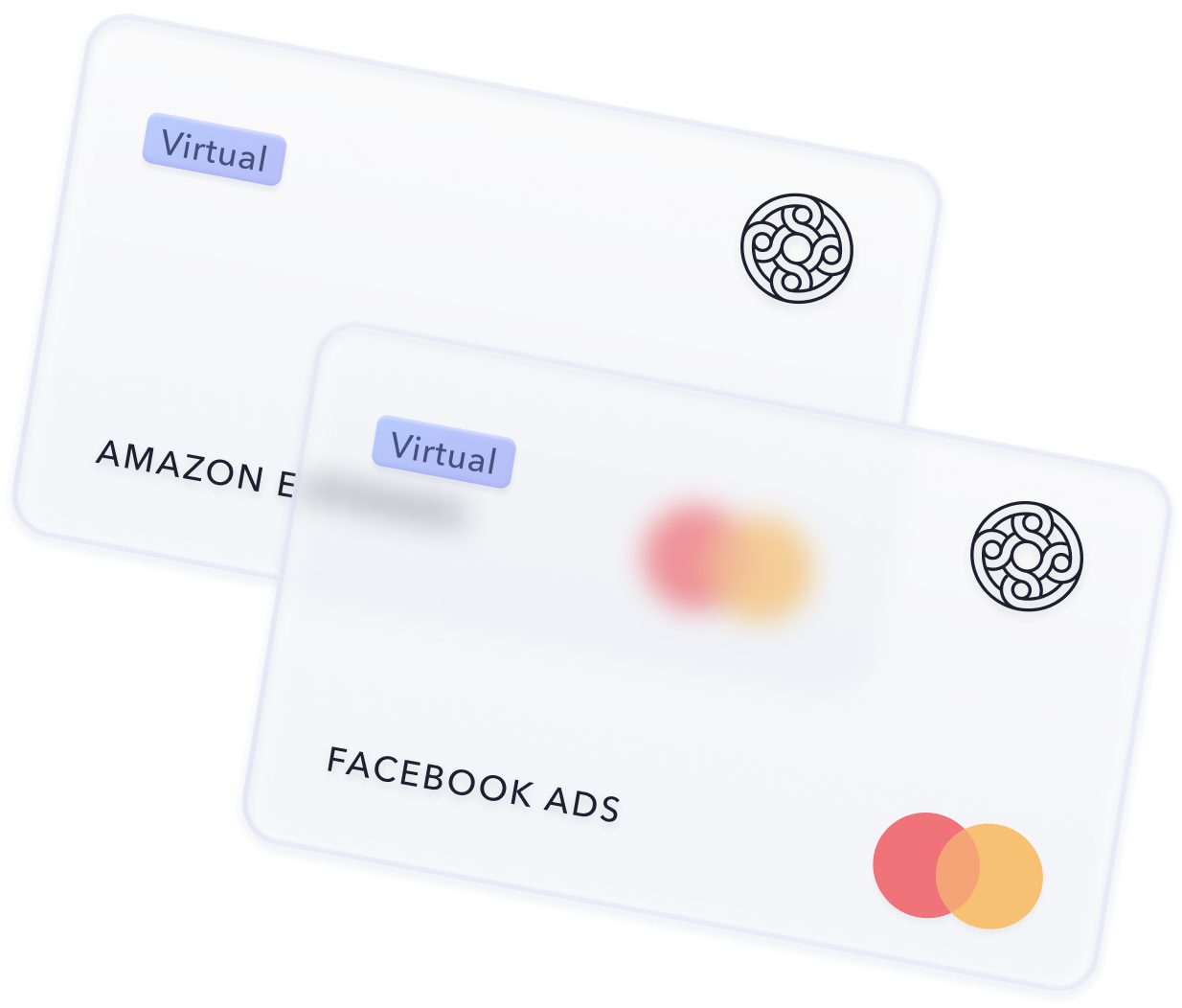 virtual credit cards from mercury lined up on a white backdrop