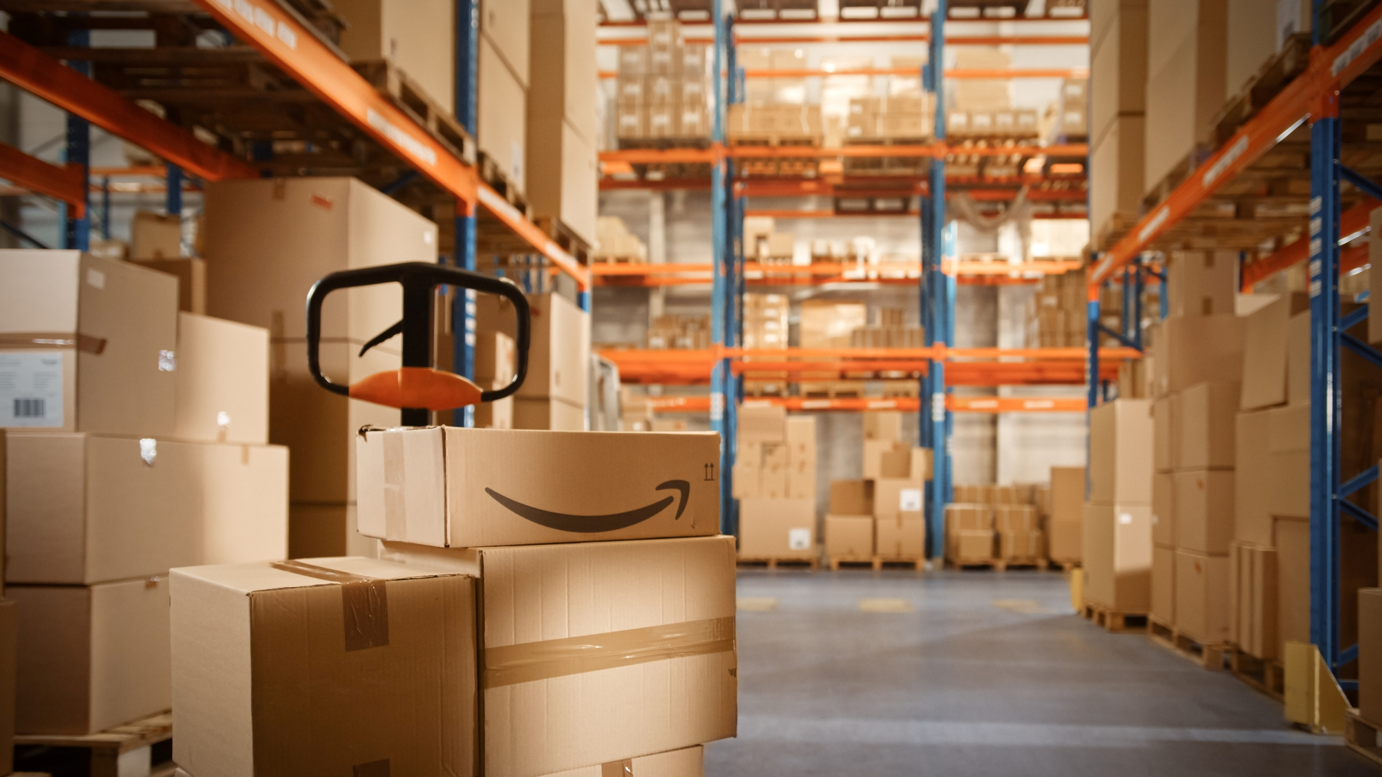 The amazon packaging warehouse is filled with products ready to be shipped by various FBA businesses