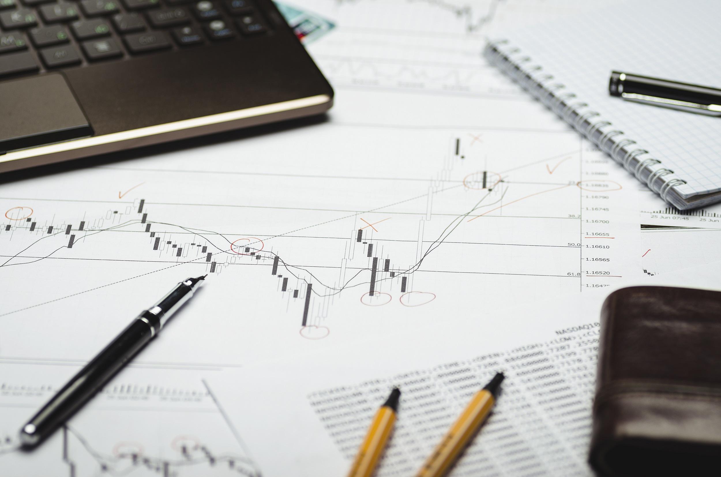Profit margin chart on paper