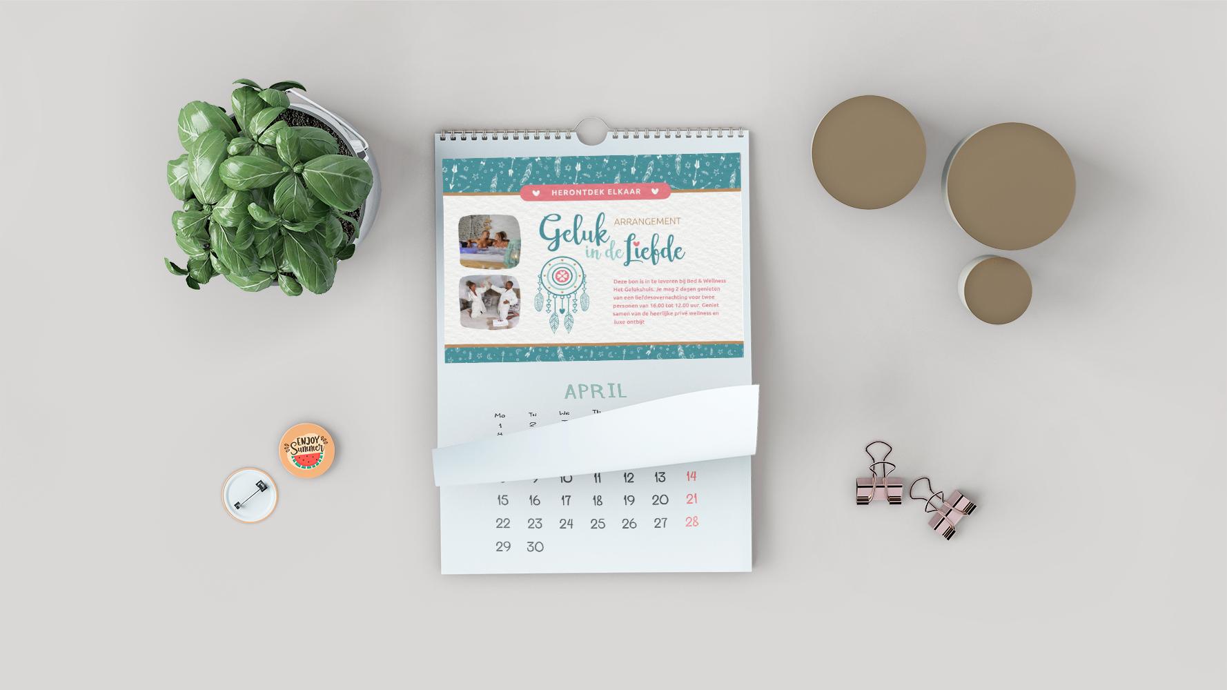 De kalender om je wellness overnachting te noteren, ergens in de komende 2 jaar