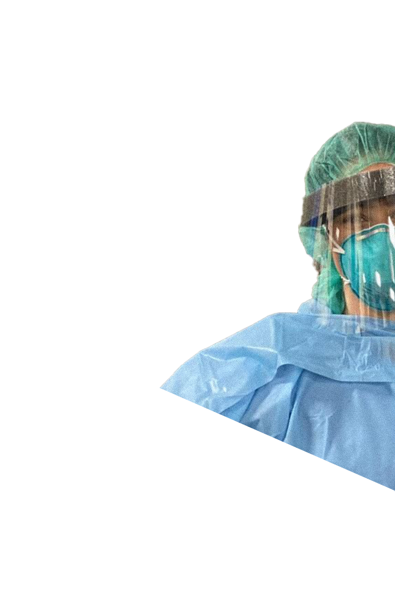 A portrait of an essential worker wearing protective mask.