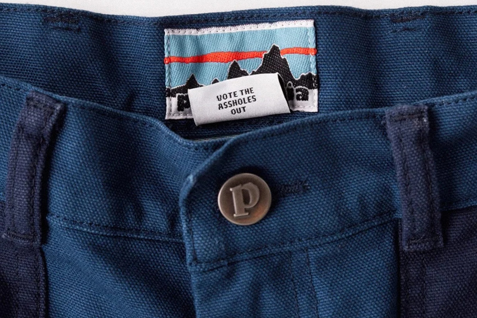 Patagonia clothing tag: Vote the assholes out