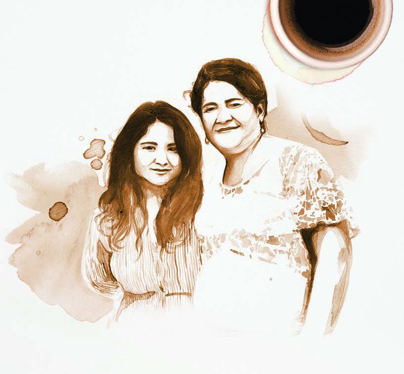 Café Intención Campaign. Illustration of two women coffee farmers.