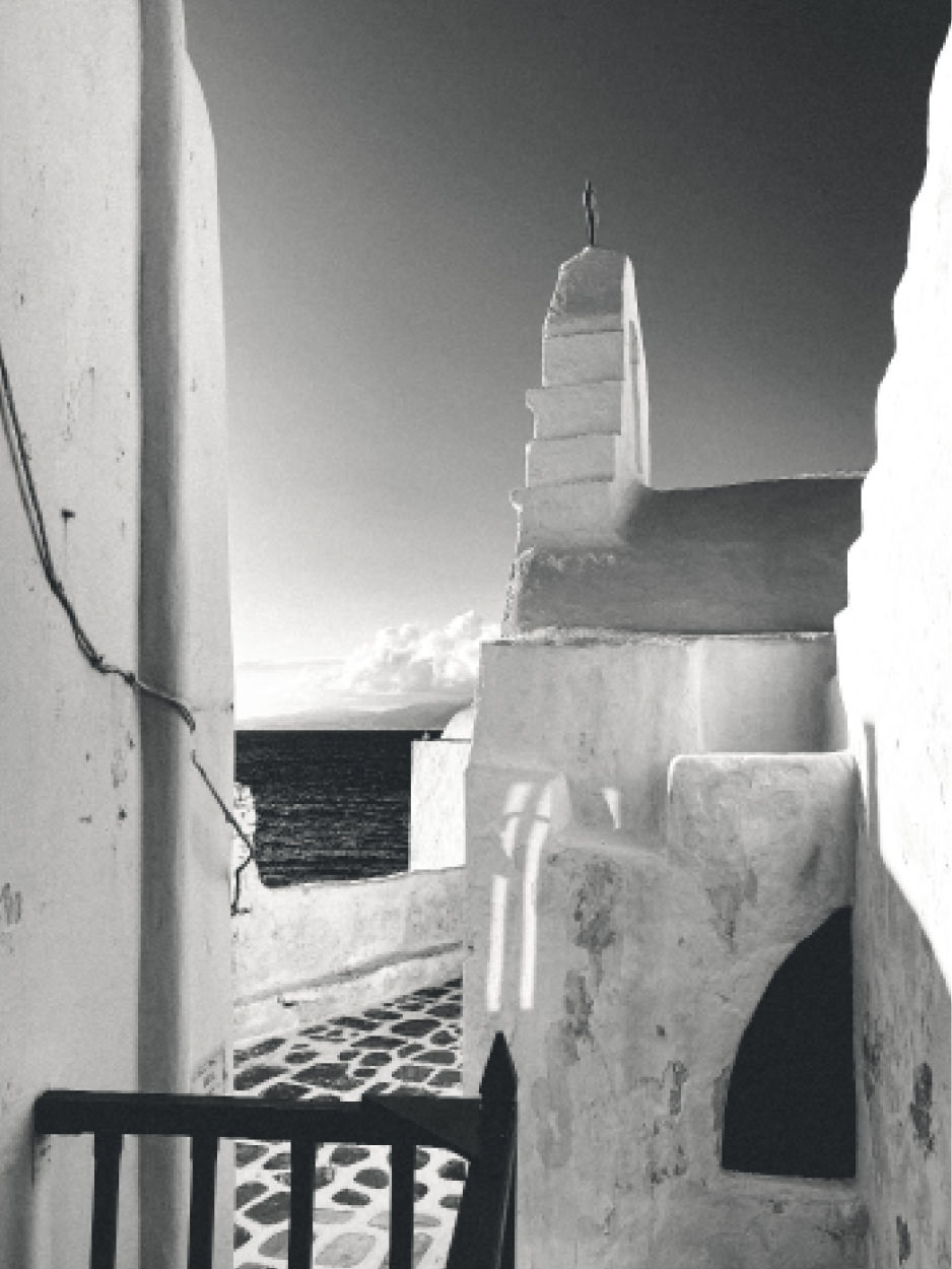 cycladic architecture black and white photo of mykonos greece