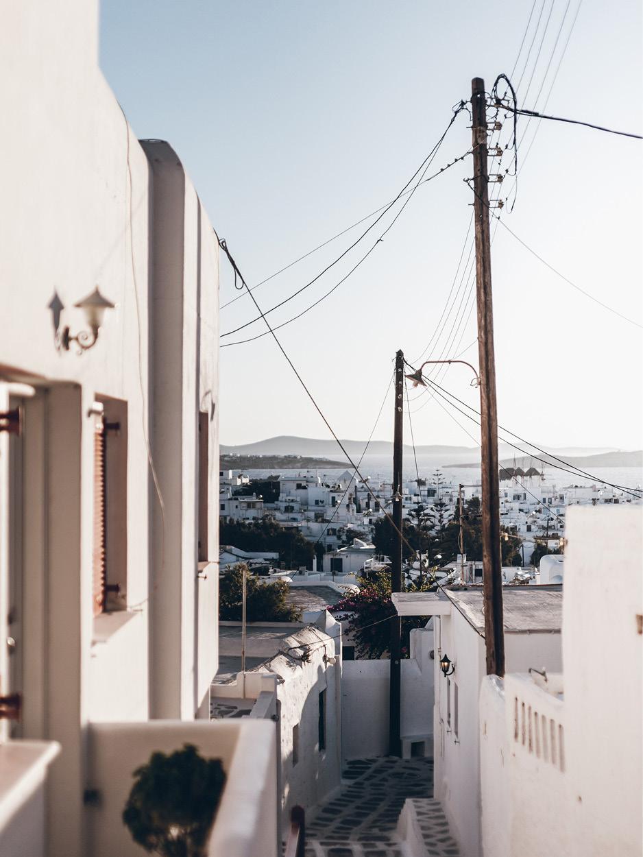 Mykonos island Chora Greece architecture beautiful city scape white house