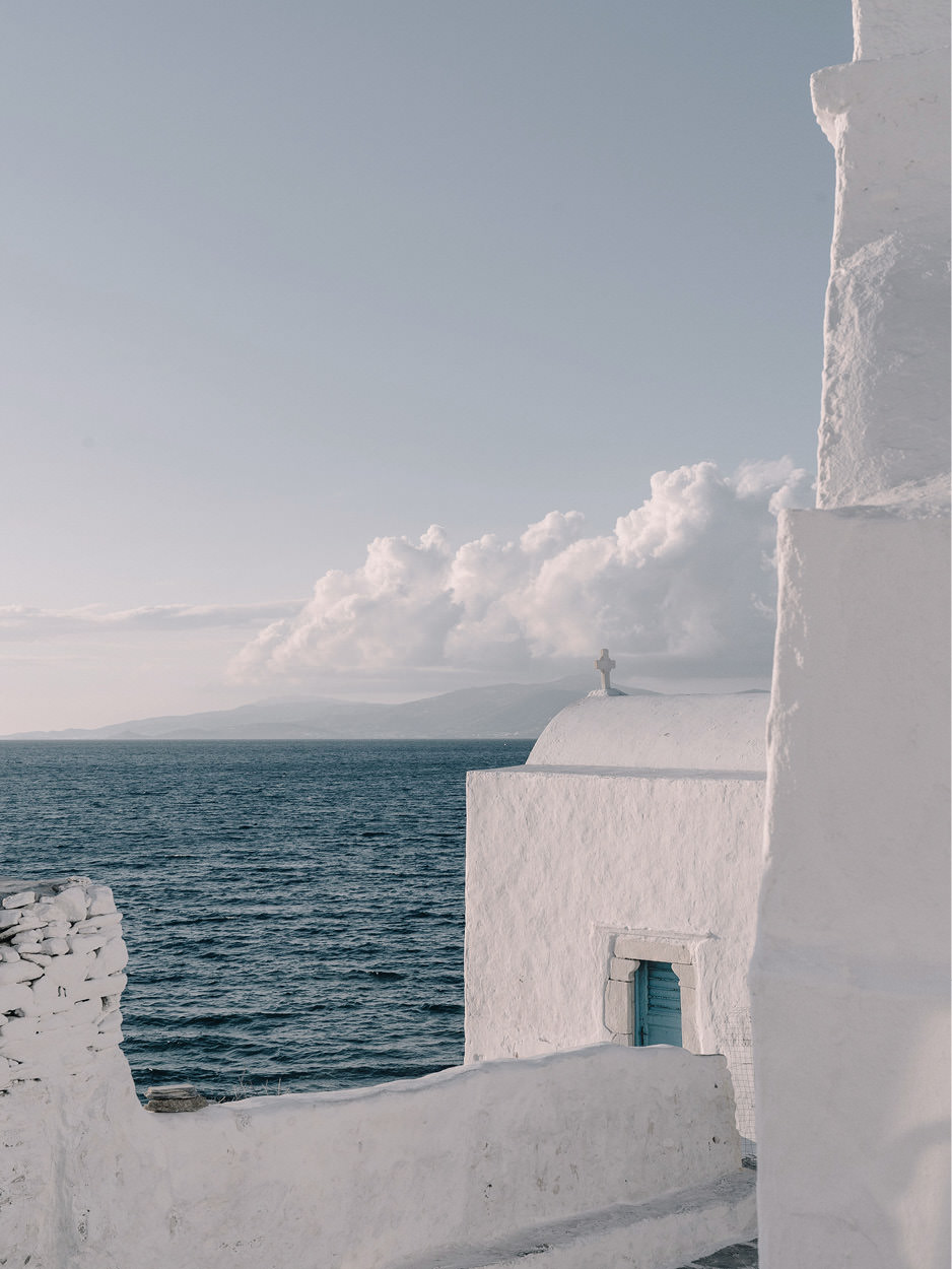 greek architecture cycladic islands mykonos beautiful view sea