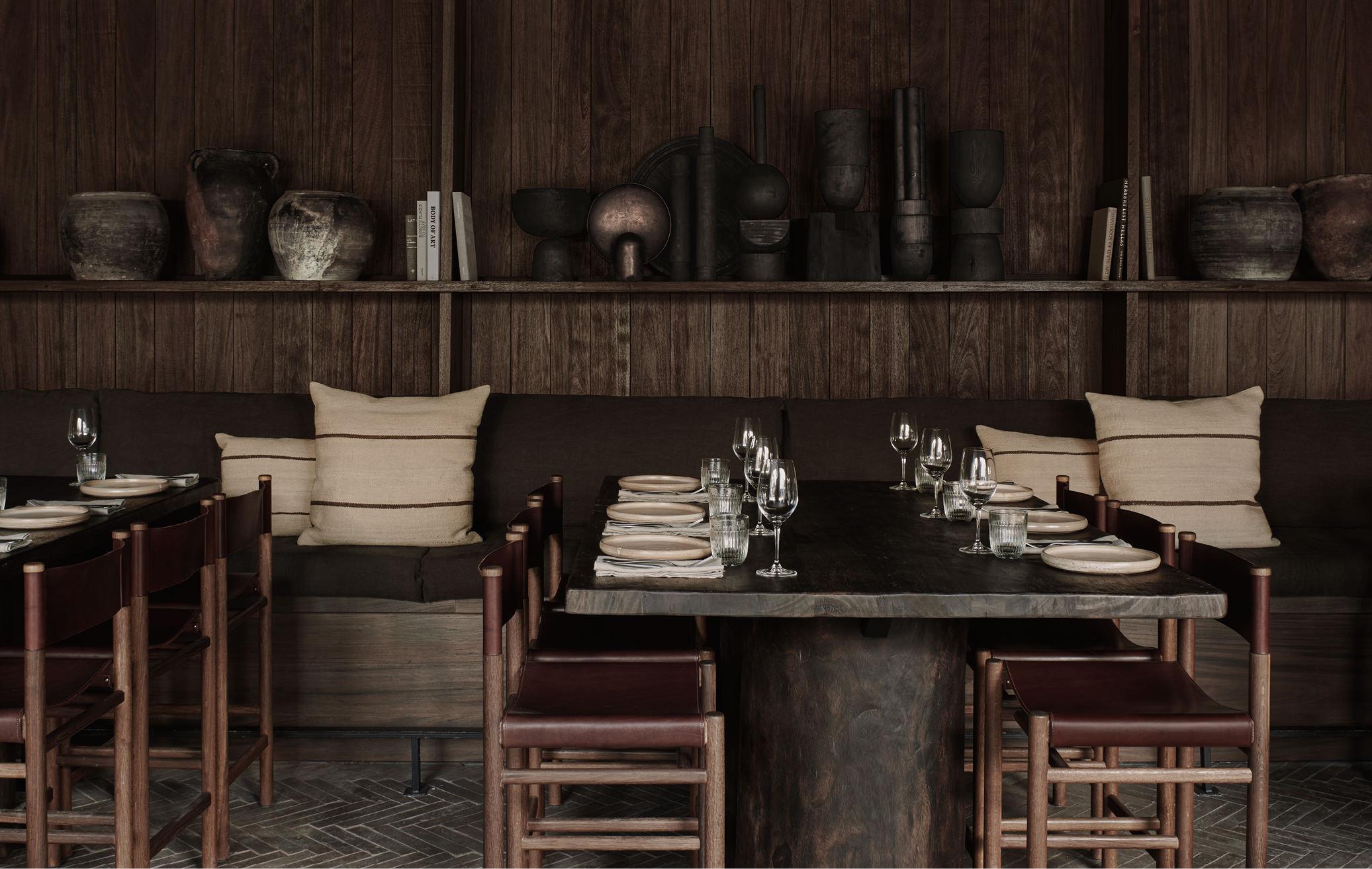 palm trees interior design beautiful bar and restaurant mykonos greece
