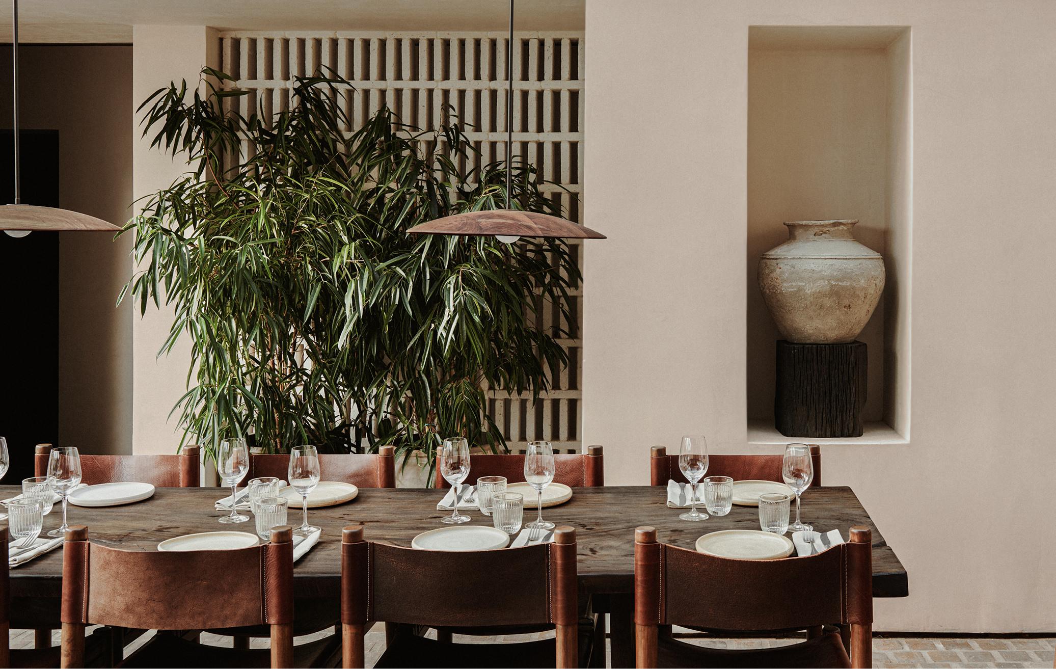 greek restaurant mykonos michelin star food and drink Mediterranean food cuisine table set up