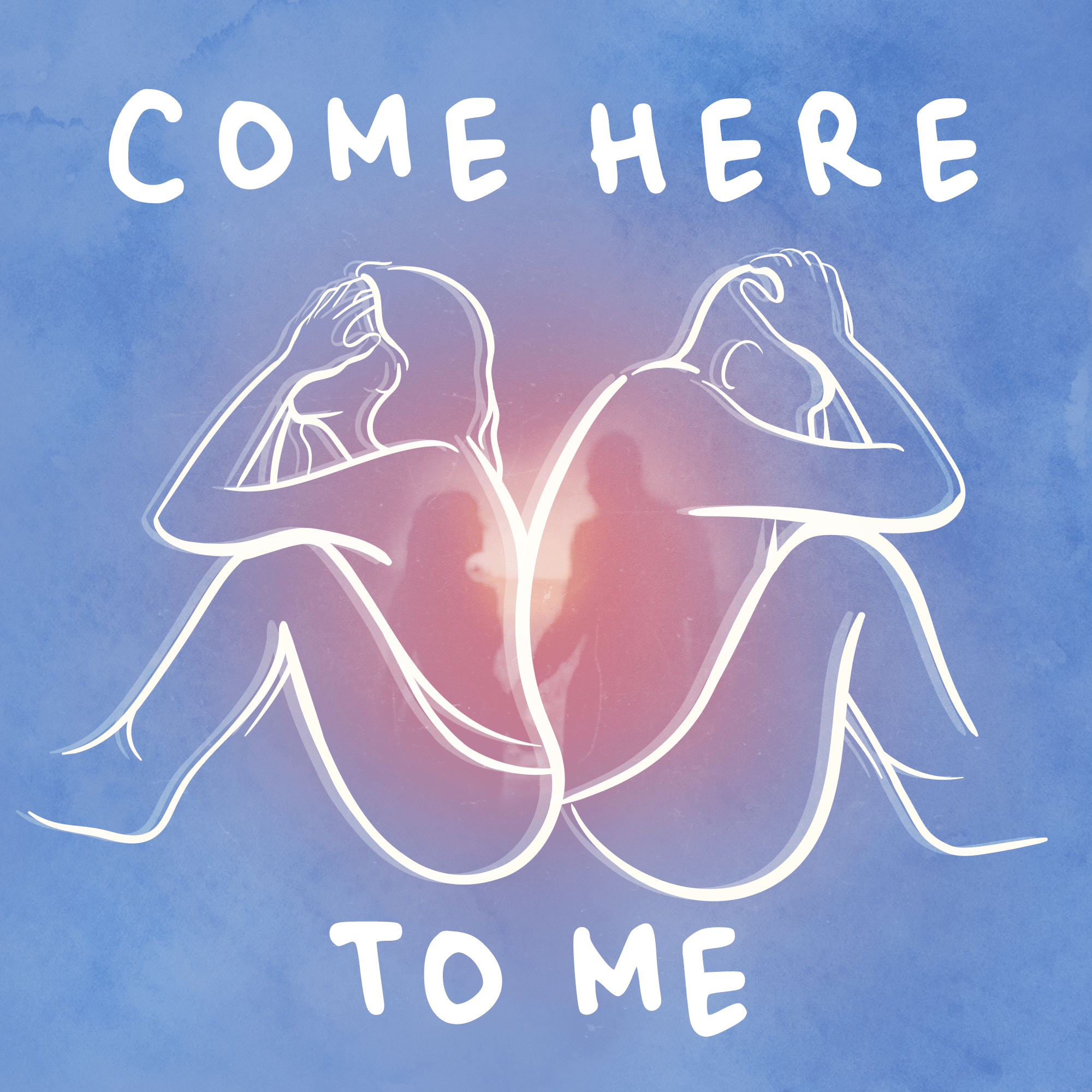 The Come Here To Me podcast logo: the outlines of a distressed couple are sitting back-to-back with a silhouette of the couple holding hands at the center.