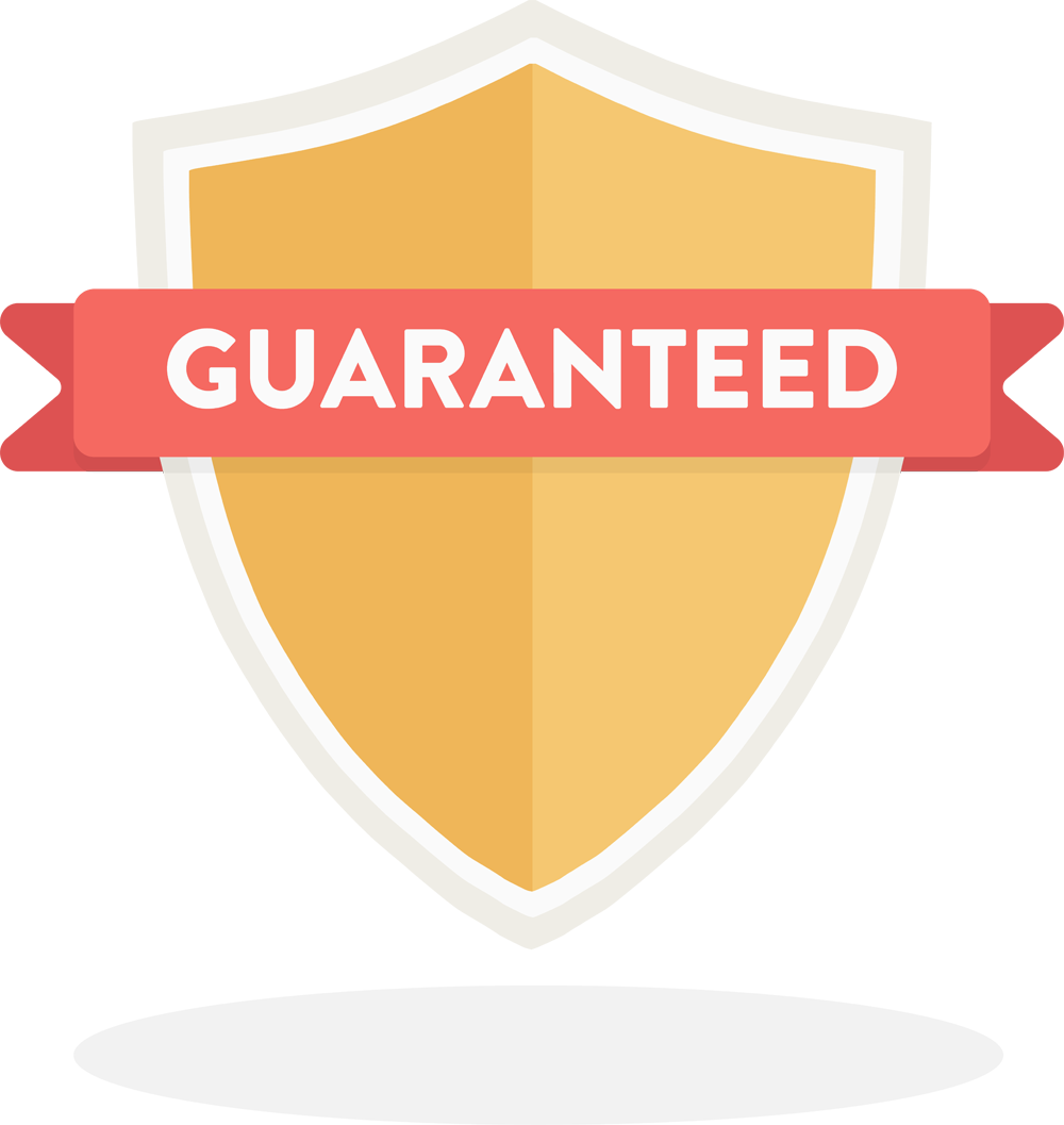 """A graphic of a yellow shield features the word """"Guaranteed"""" written on a banner."""