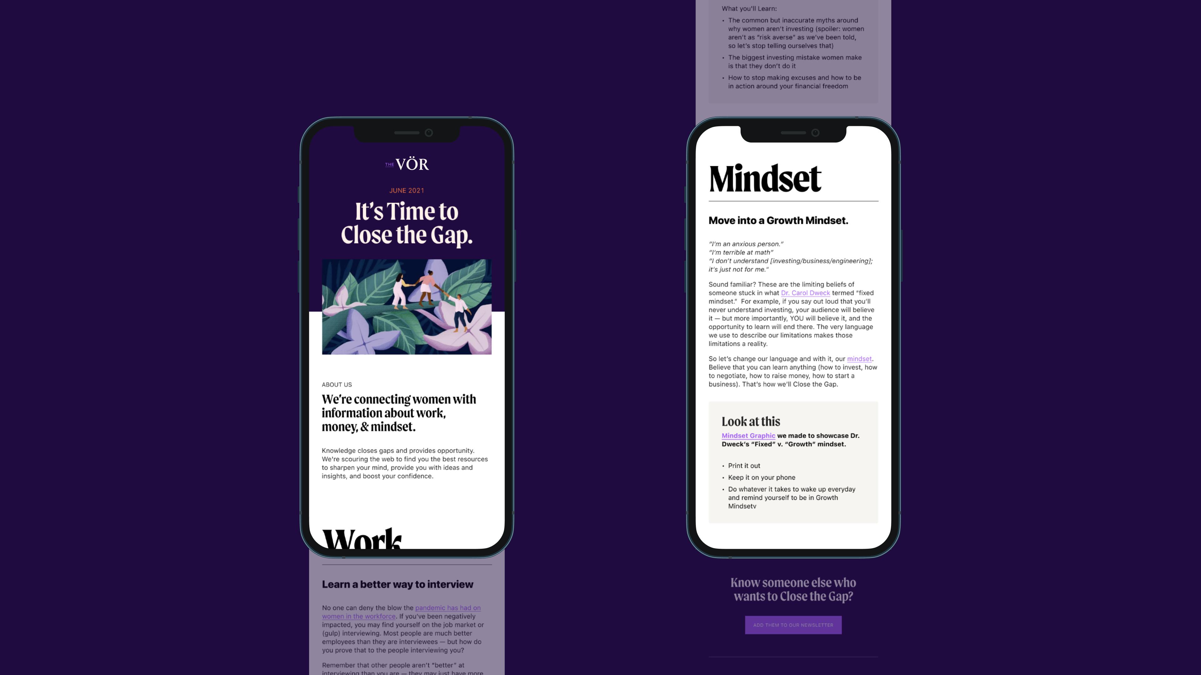The Vor branding and web design newsletter design