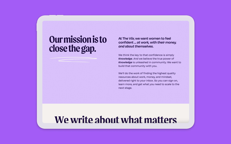 The Vor branding and web design website page