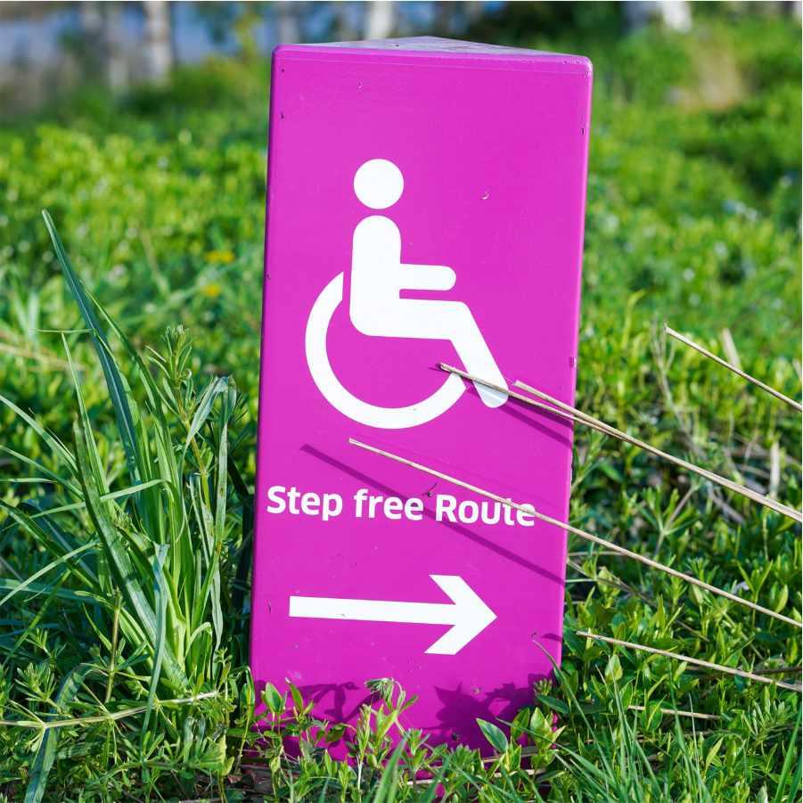 Foto Schild mit Behinderten Logo im Gras