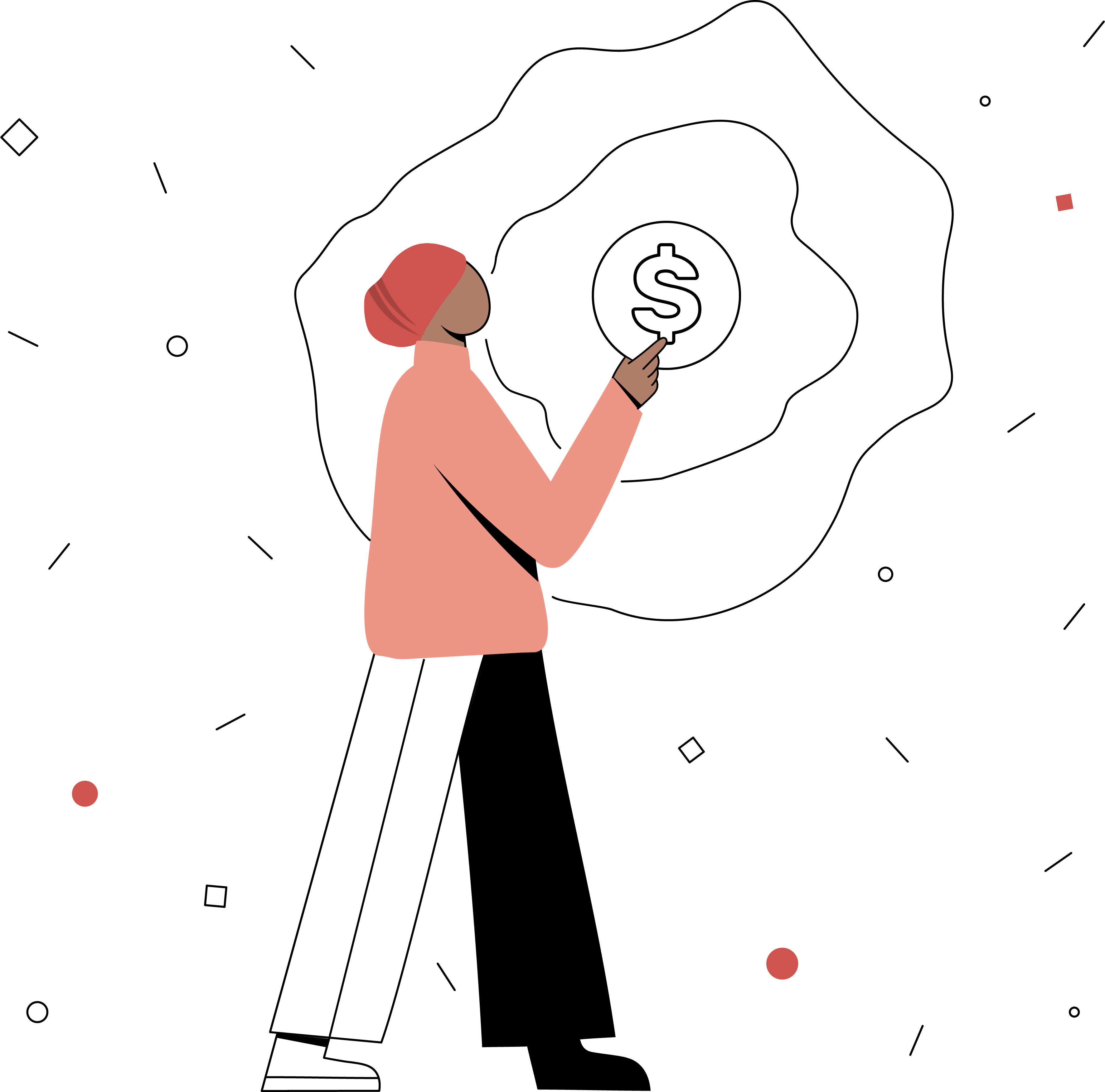 An illustration of a woman holding a dollar sign in her hand.