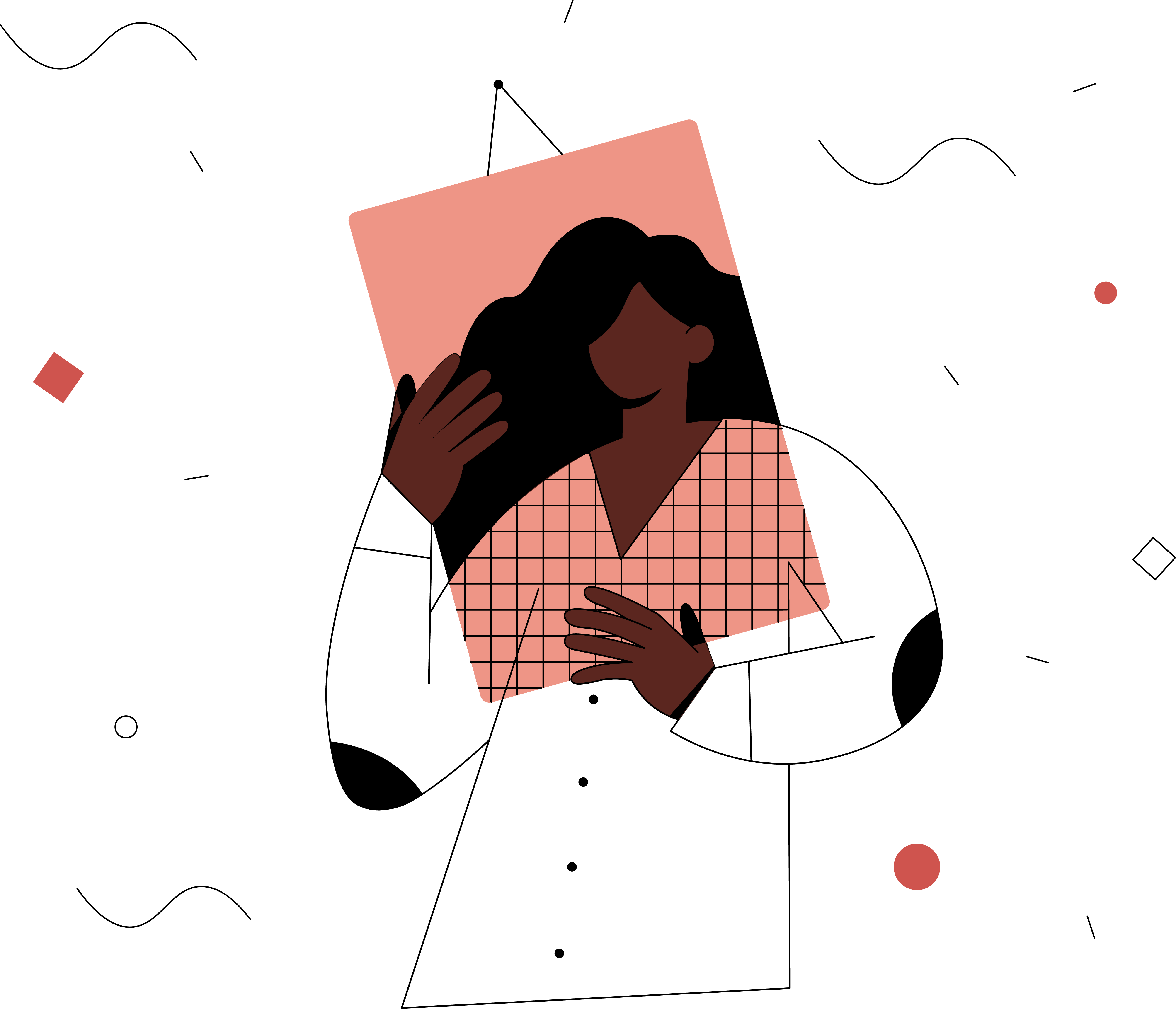 An illustration of a woman holding a picture frame in front of her face