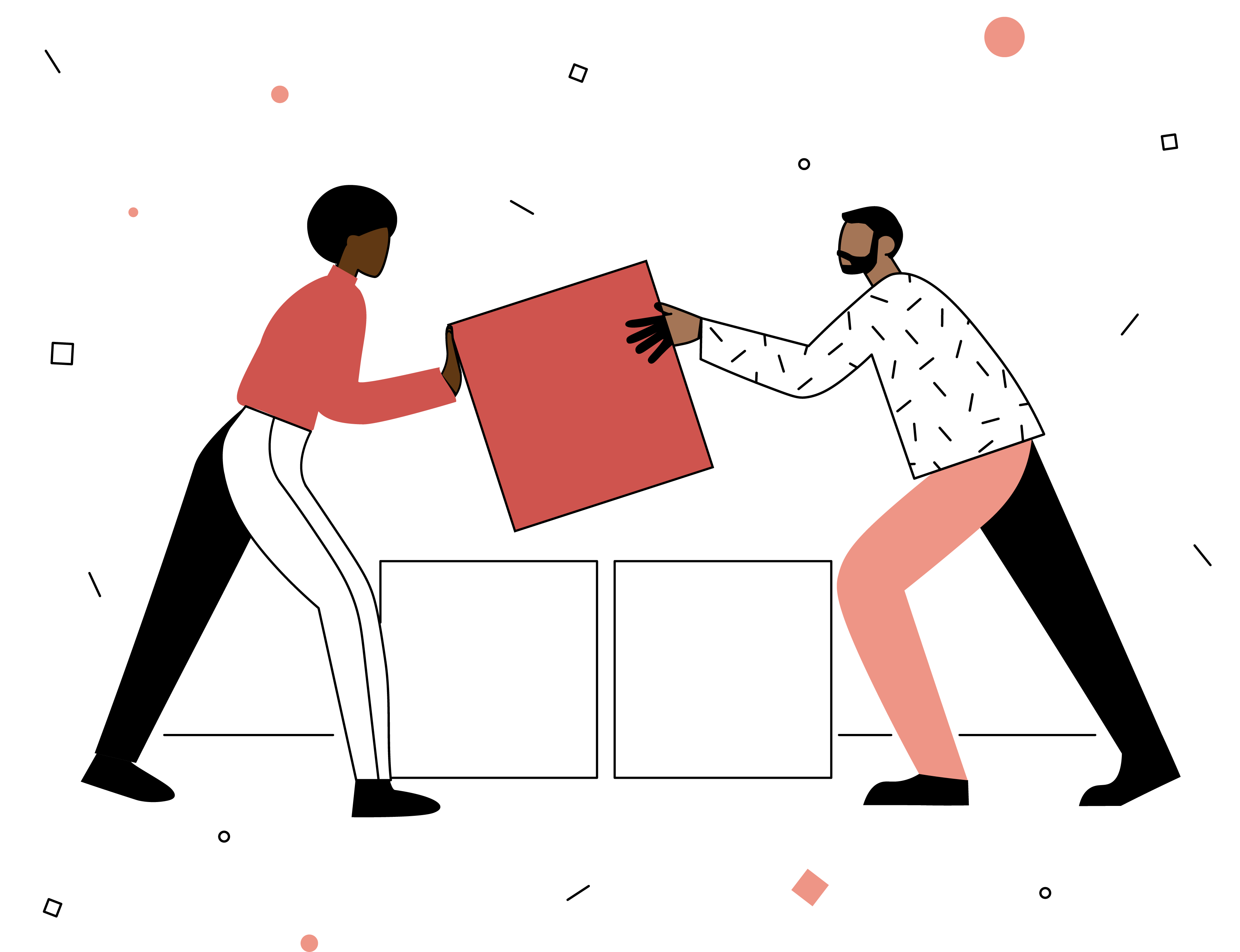 An illustration of two people putting down building blocks collaboratively
