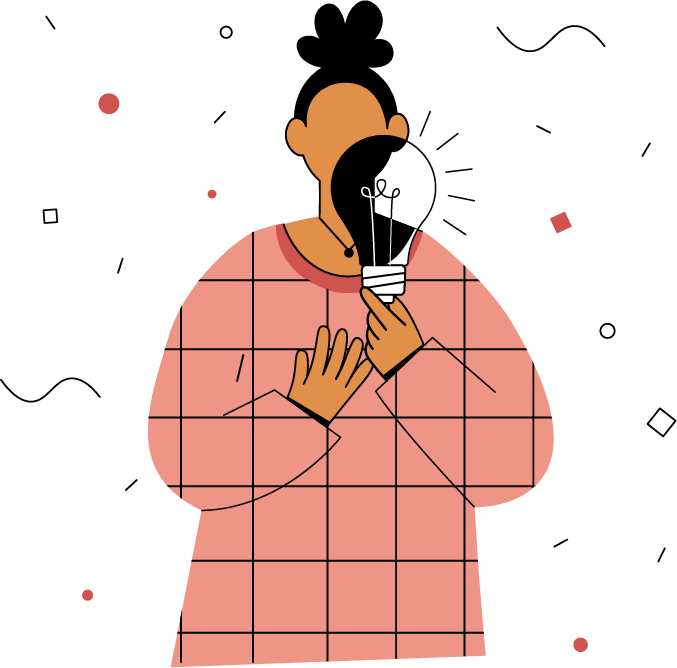 An illustration of a woman holding a light bulb in front of her face