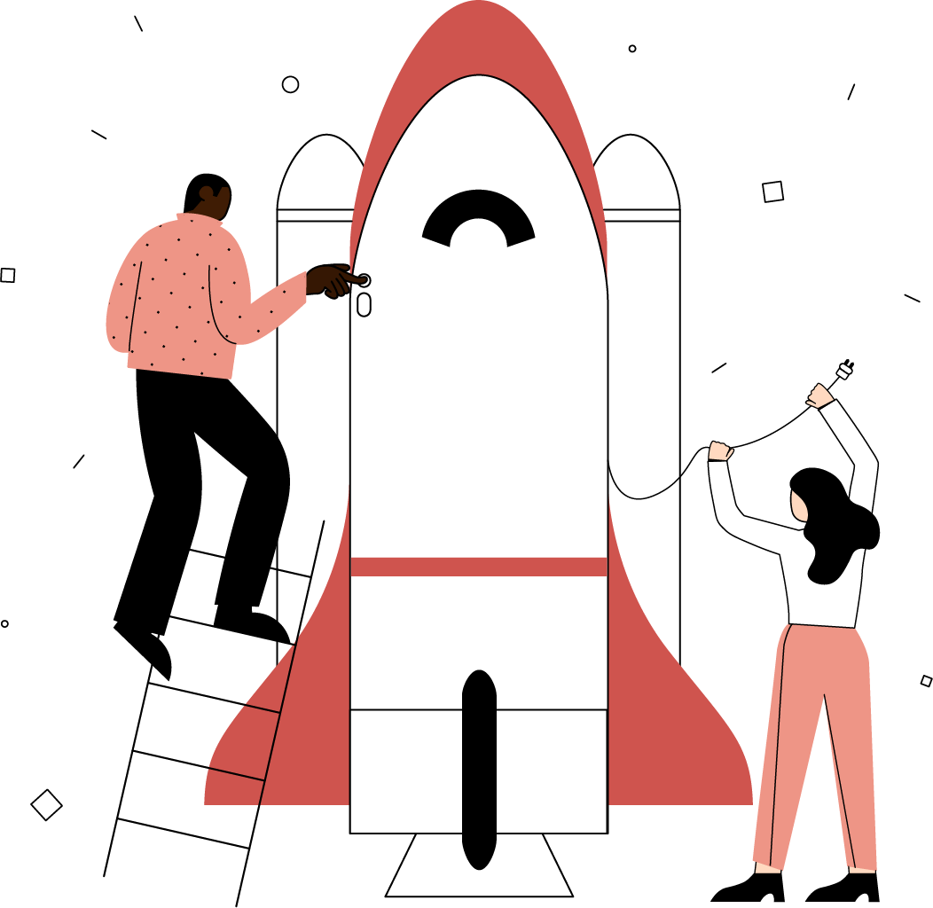 Two people, a man and a woman, building a rocket ship together. The man is standing on a ladder about to press a button and the woman is holding a wire above her head.