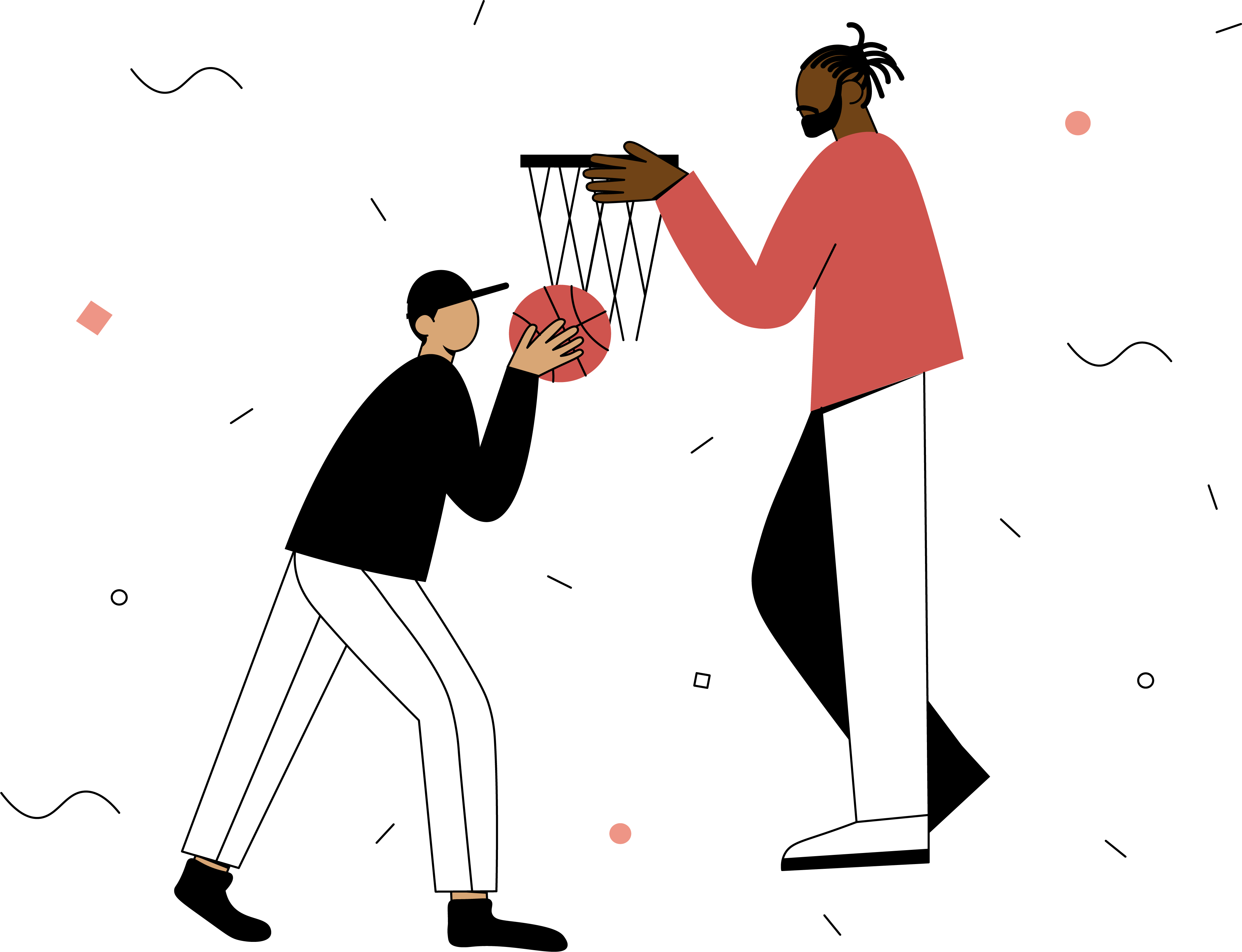 An illustration of one man holding a basketball hoop and another reaching the ball towards the basket