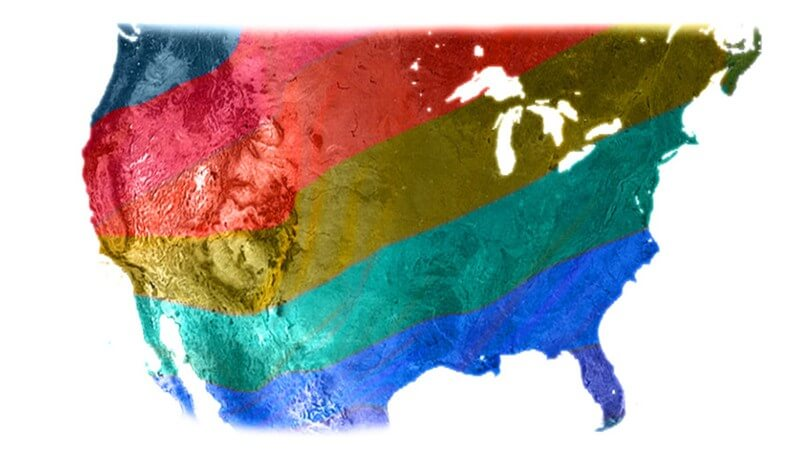 Rainbow colors covering image of United States