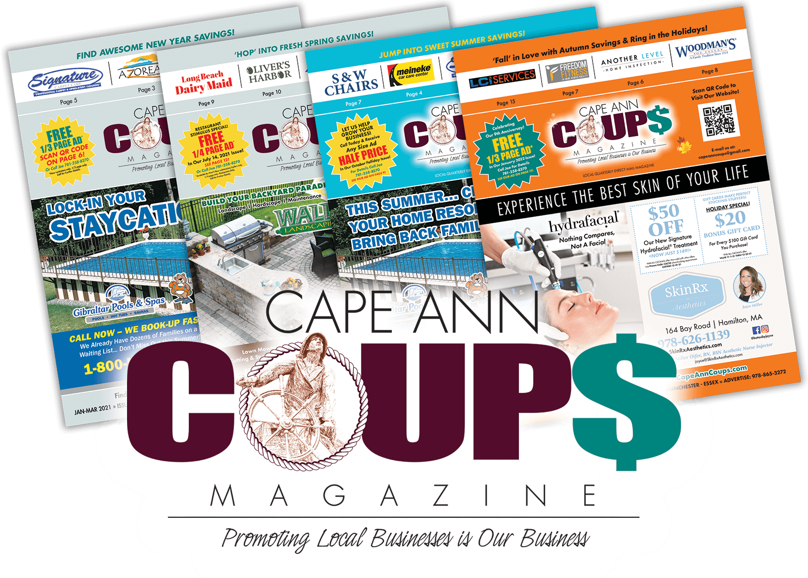 Cape Ann Coups Magazine Logo with Covers