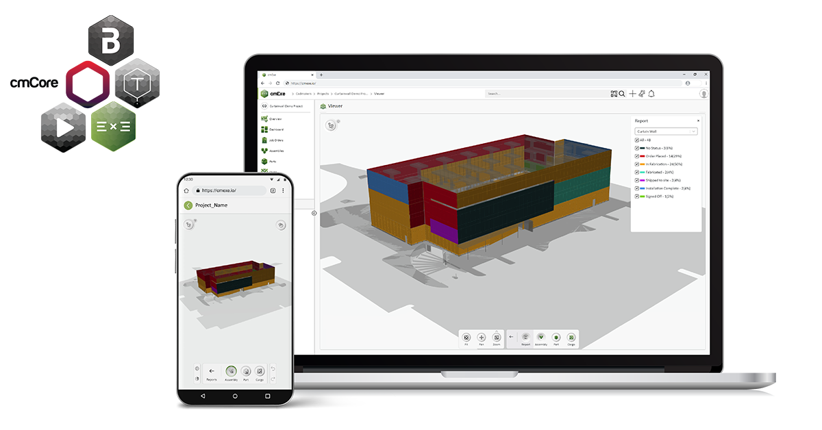 As a fabricator, how do I visualize the real-time status of my Bill of Materials/WIP? Can I use the phone I have in my pocket? How can I provide a better experience for my customer by enhancing transparency with real-time reporting leveraging this enhanced visualization? The newly enhanced 3D web-viewer component in cmExe gives enhanced visualization of the full production progress for all parts, assemblies and cargo shipments optimized for view from any mobile device. Users on the shop floor, in the logistics department, installers on-site and clients signing off on your work, will benefit with access to the 3D production model overlaid with all colour coded progresses that are automatically updating in the background as users scan QR codes using the camera on their phones.