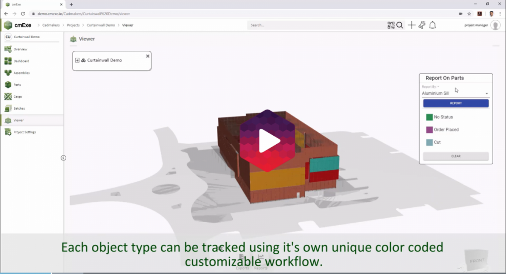 Visualizing progress and status overlaid on a color coded 3D BIM model