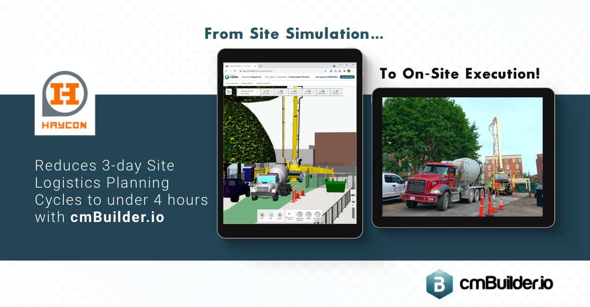 Haycon Inc uses cmBuilder.io to reduce site logistics planning cycles to less than half a day and finds a scalable, low-effort, and high-value web-based solution to get a more accurate overall view of their construction planning with regards to moving around the site, placing large equipment, getting things delivered up into the building efficiently and safely.