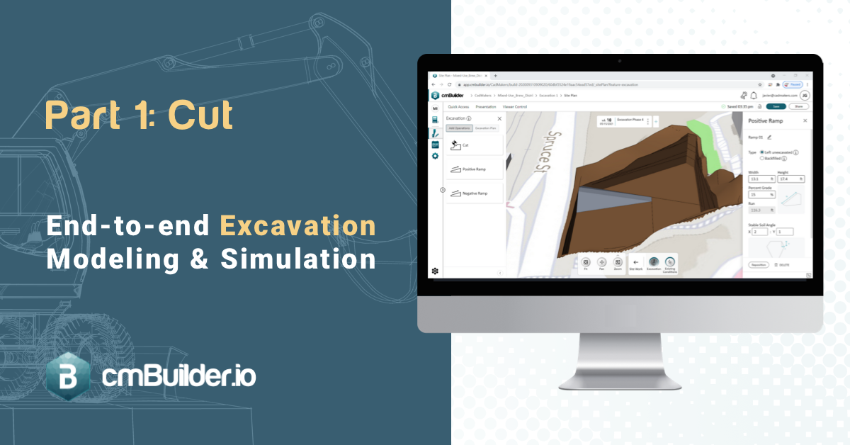 """Before cmBuilder, it had been quite the challenge for construction planners to perform quick, real-time scenario analyses for the excavation phase, as much of the information provided by the design team pertaining to geotechnical was done in 2D only, which caused a mix of 2D and 3D design information to draw from. With this first release of the excavation feature set, cmBuilder makes it easy to rapidly model, simulate and quantify the bulk and detailed excavation phase with the ability to perform """"cut"""" operations and link excavation phases to milestone dates."""