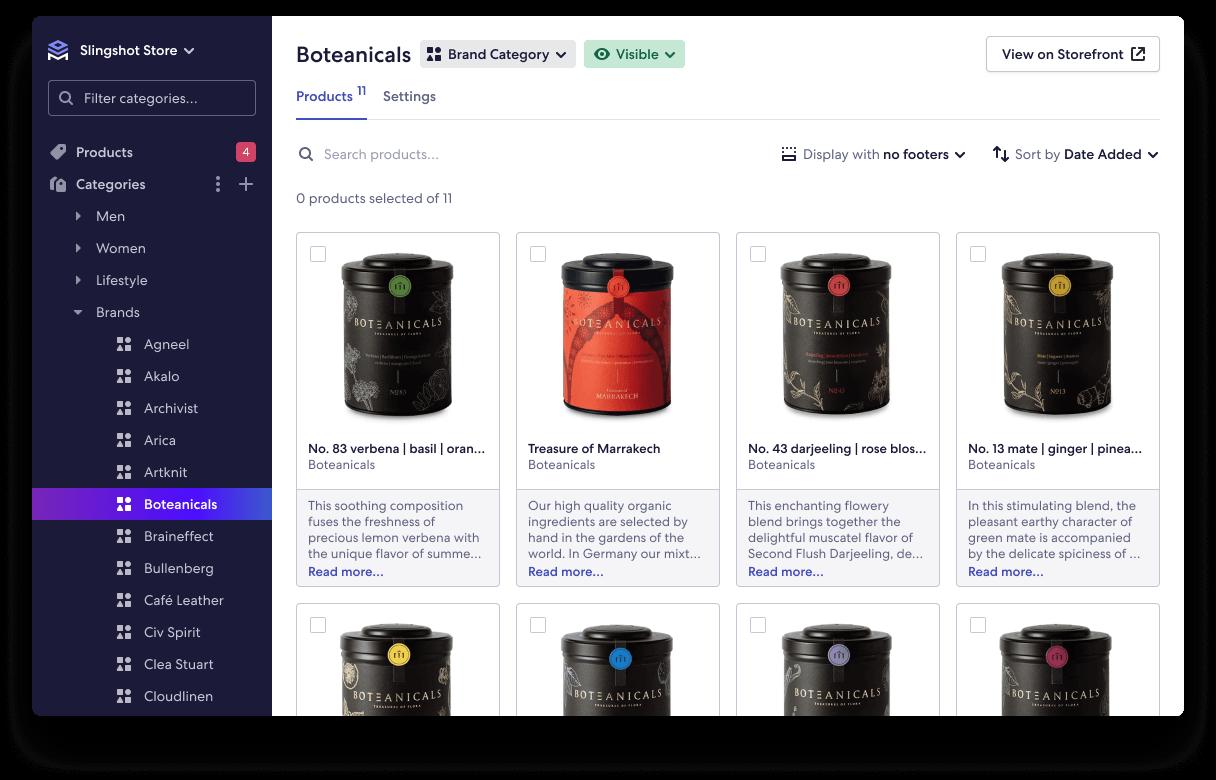Screenshot of Brand Category