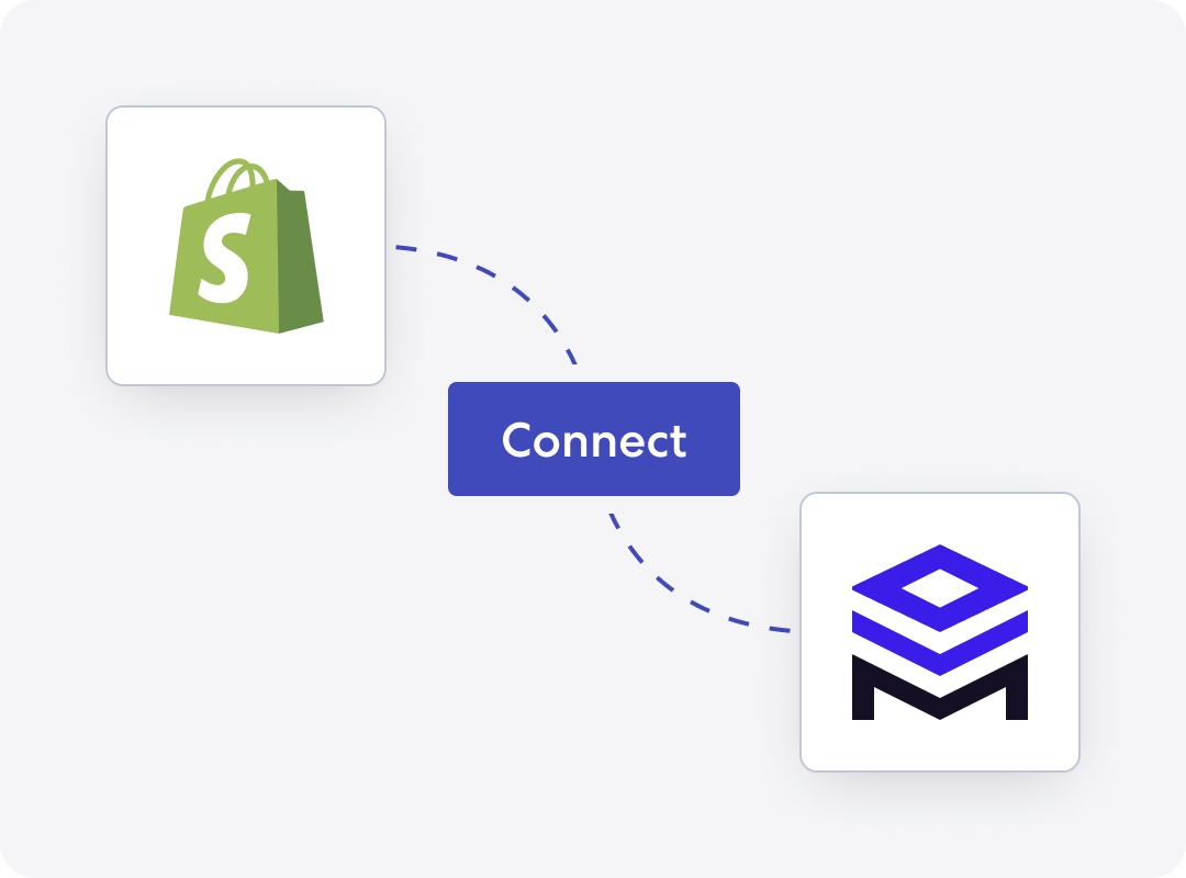Graphic of Shopify integrating with Merchstack