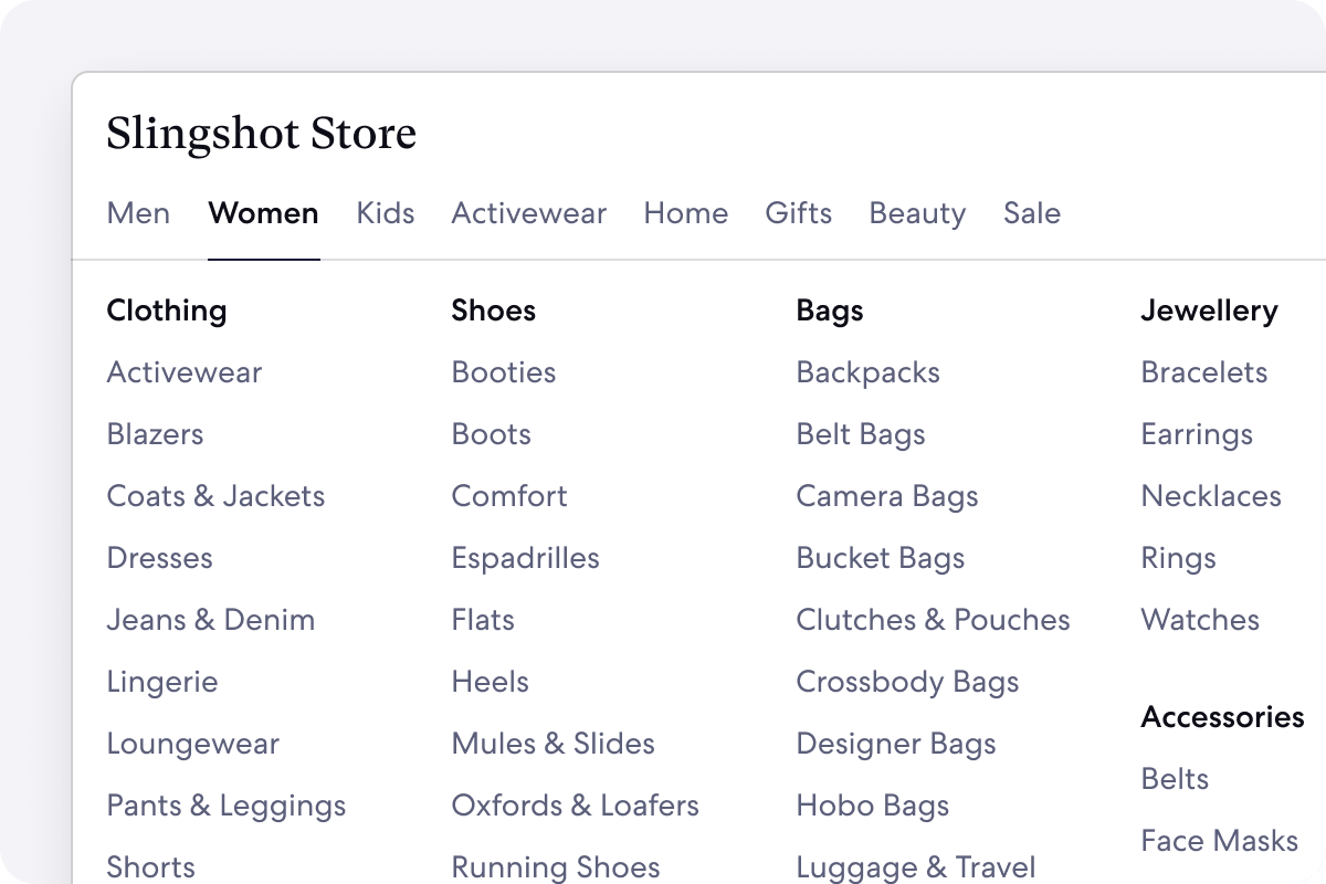Graphic of Storefront Megamenu