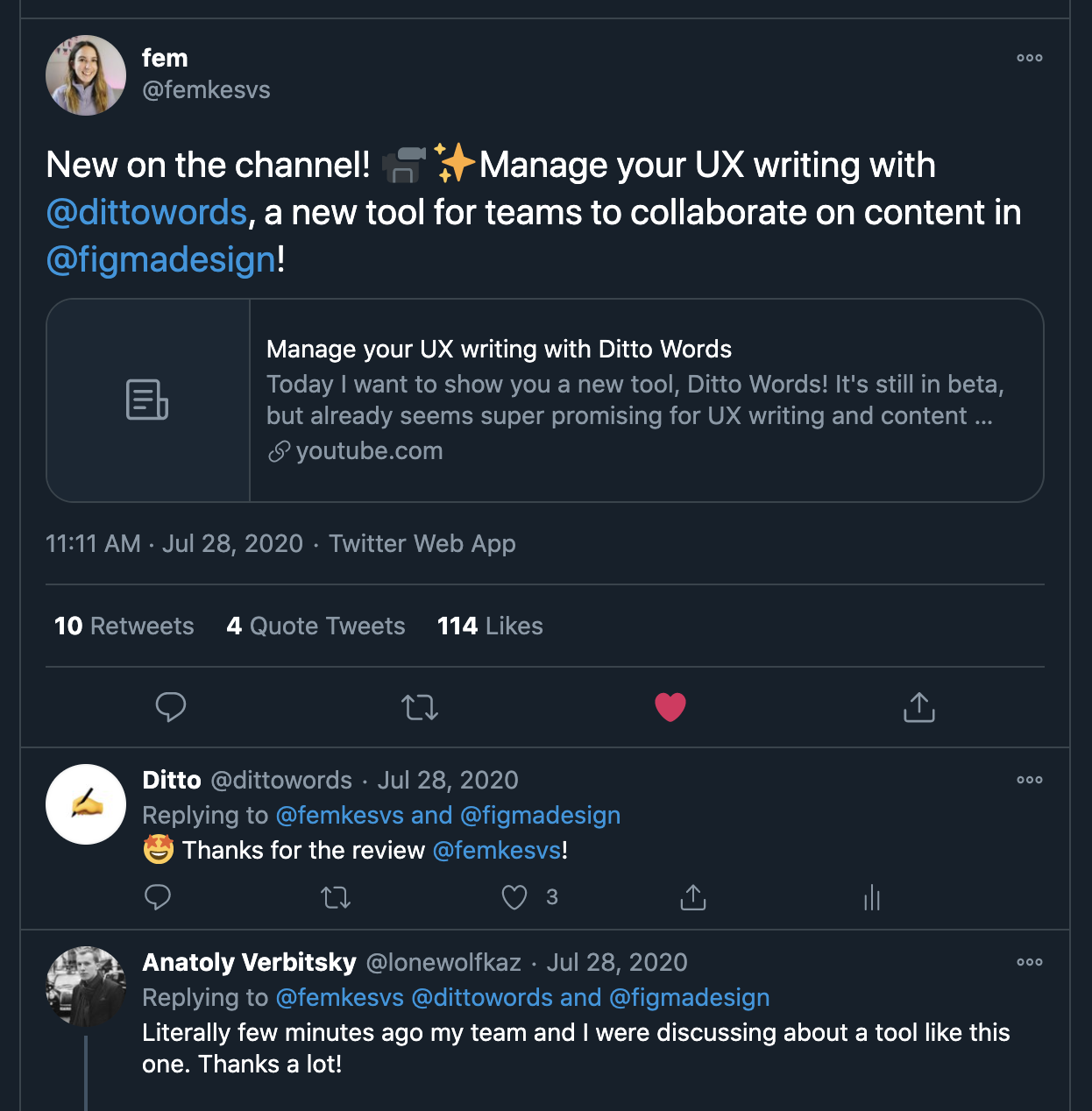 "Tweet from Femke featuring her video of Ditto: ""New on the channel! Manage your UX writing with @dittowords, a new tool for teams to collaborate on content in @figmadesign!"""