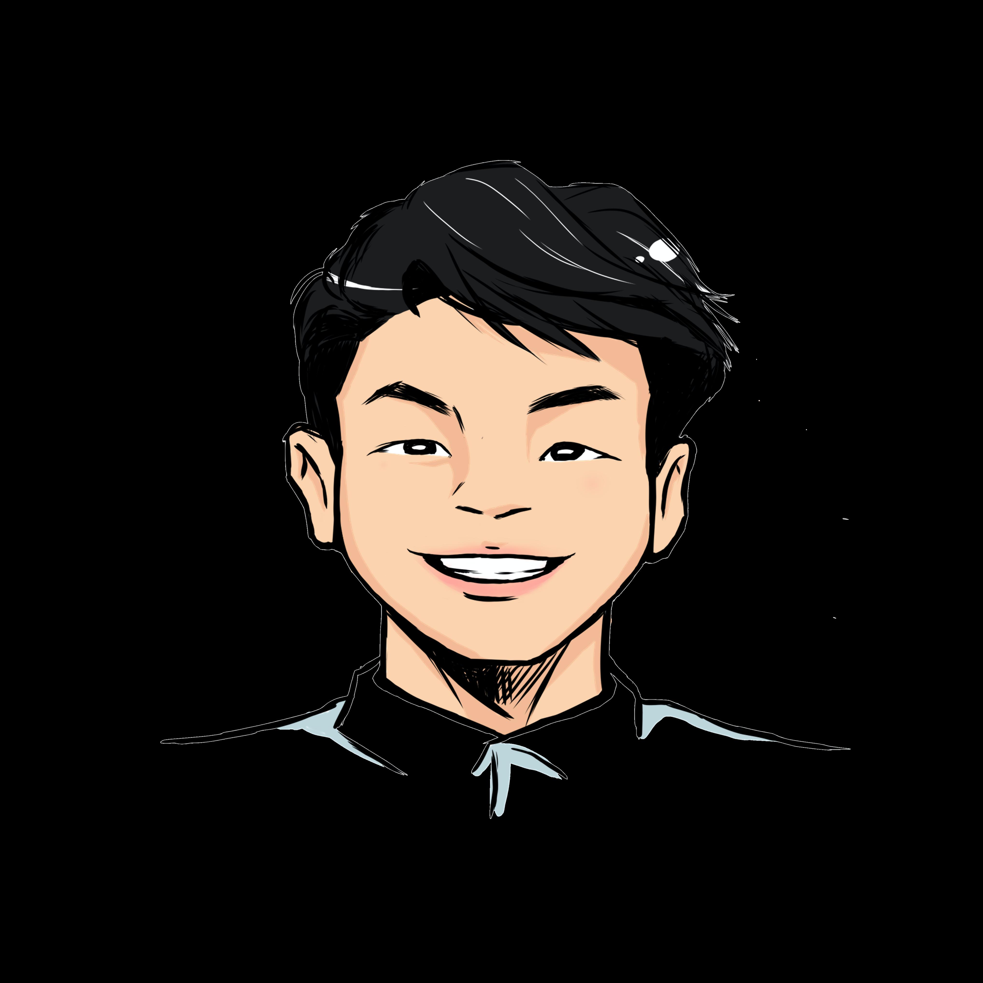 Illustrated headshot of team member, Cameron