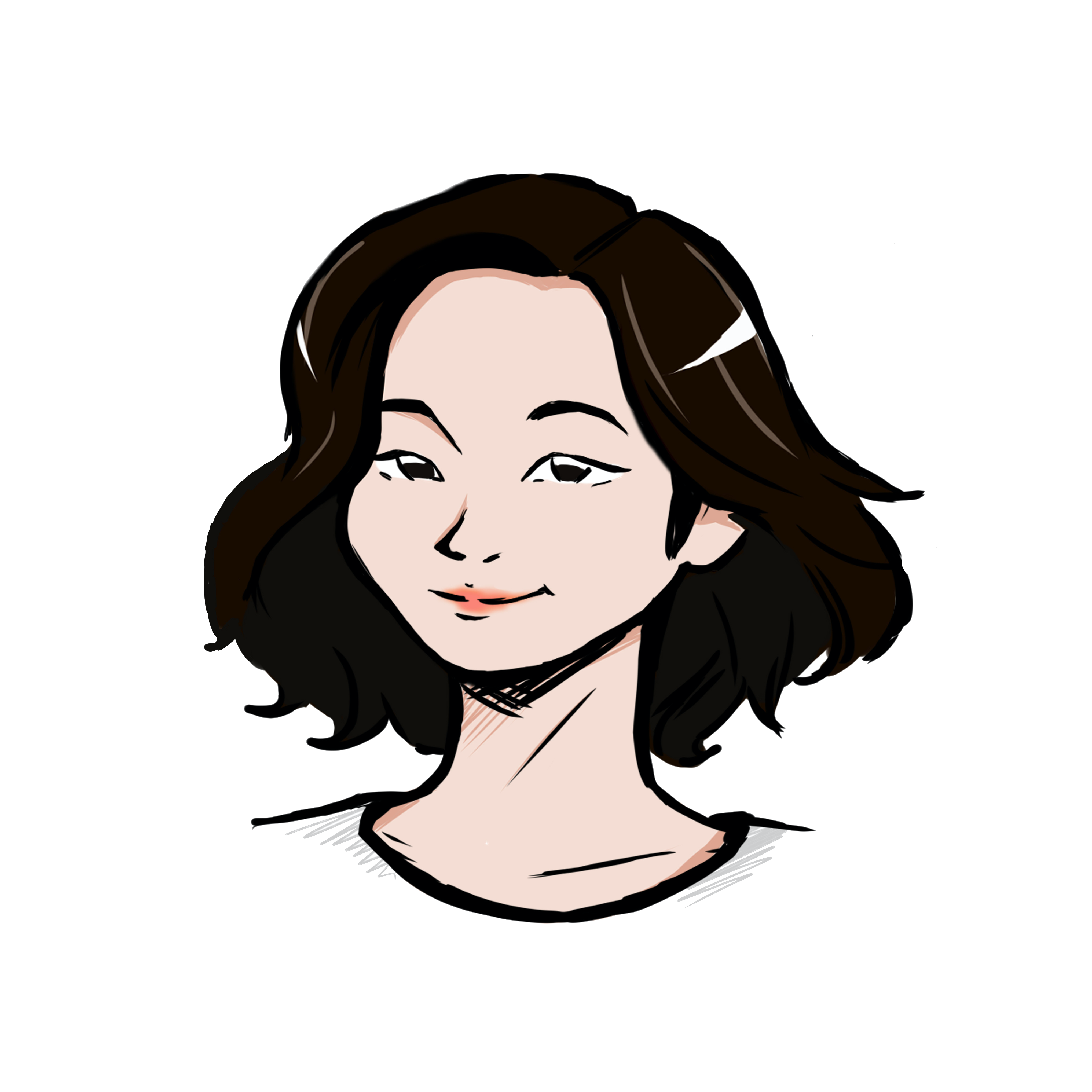Illustrated headshot of team member, Irene